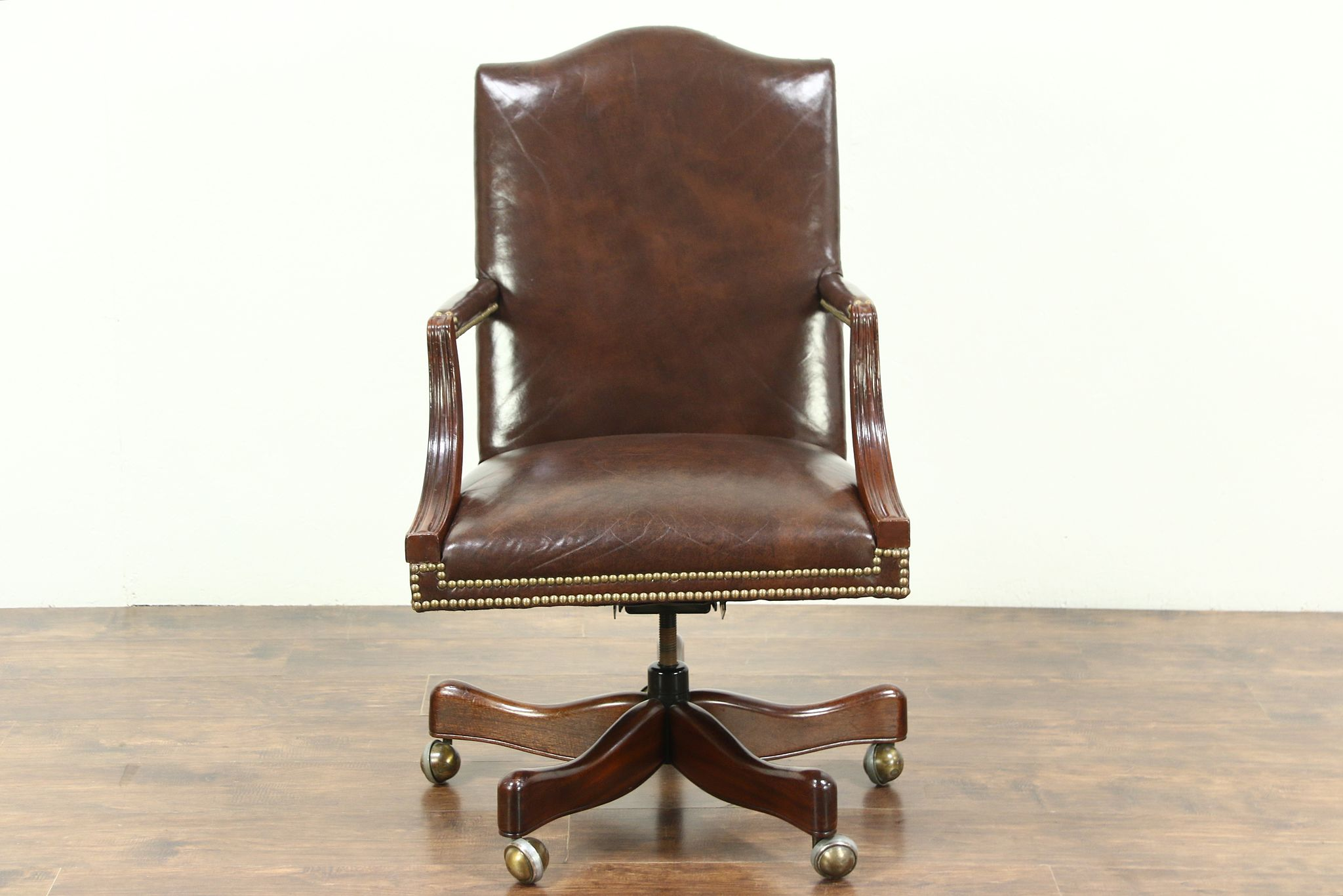Gany Leather Swivel Vintage Desk Chair Signed Hickory