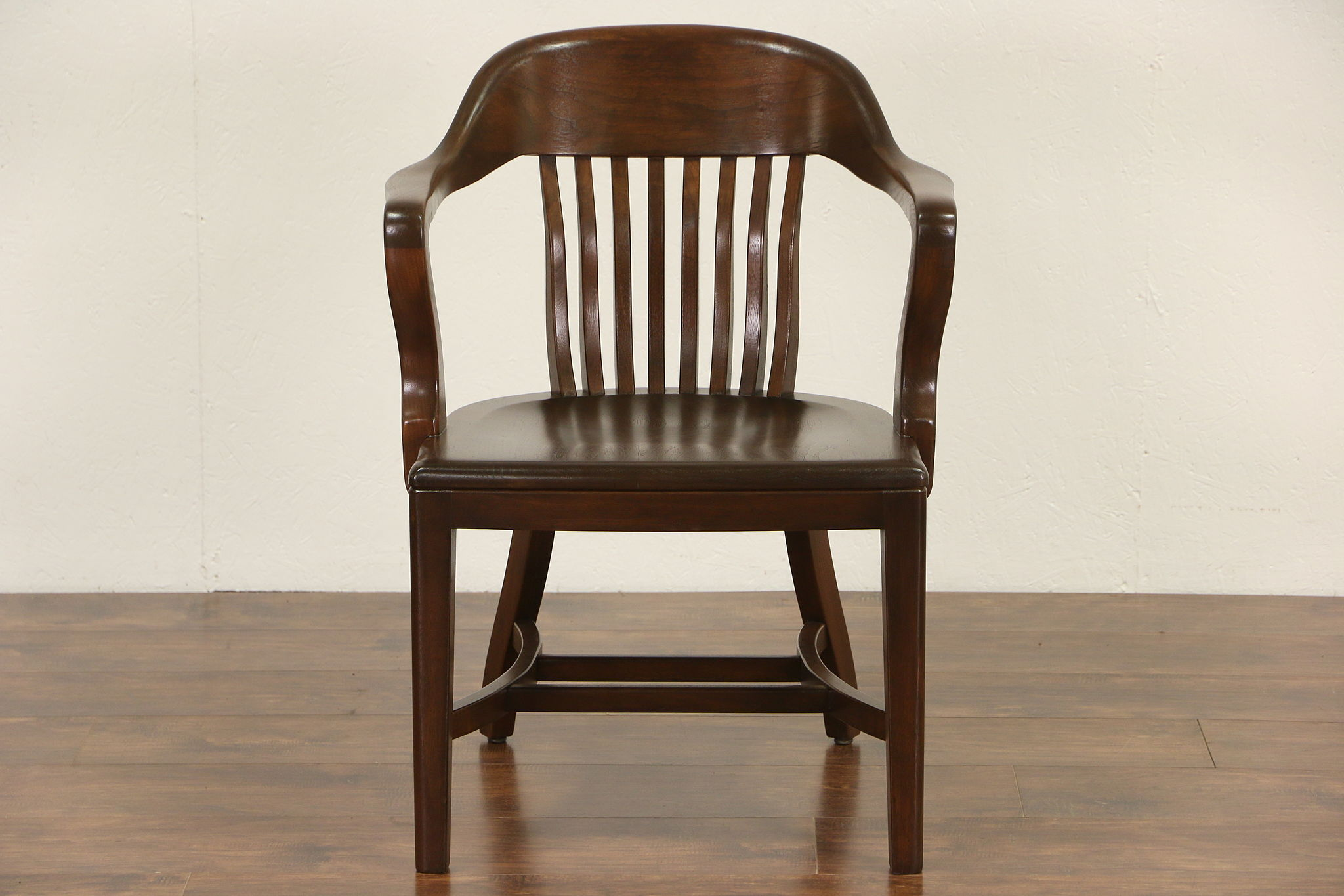 SOLD Walnut Antique 1920 Banker Chair Curved Spindles & Arms