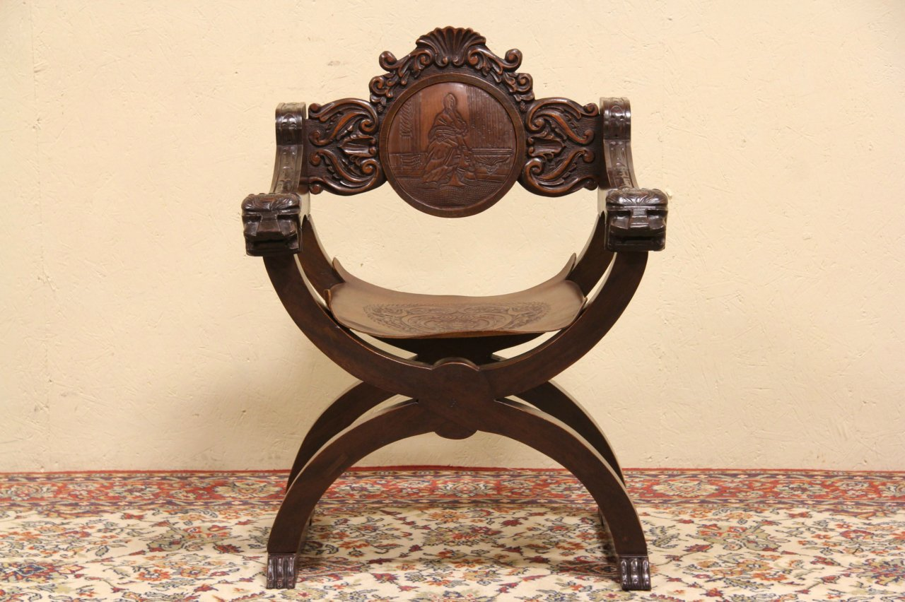 Spanish Colonial Hand Carved Chair, Embossed Leather Seat - SOLD - Spanish Colonial Hand Carved Chair, Embossed Leather Seat