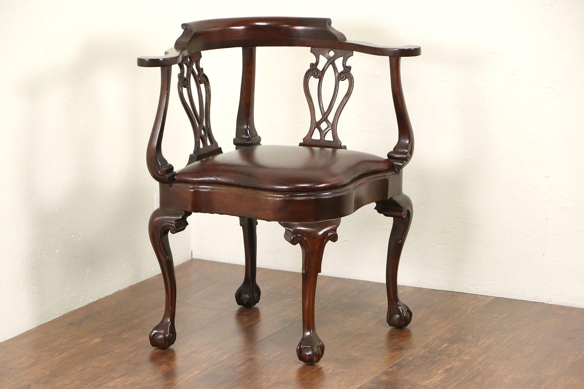 Hancock U0026 Moore Signed Vintage Georgian Corner Chair, Leather Seat