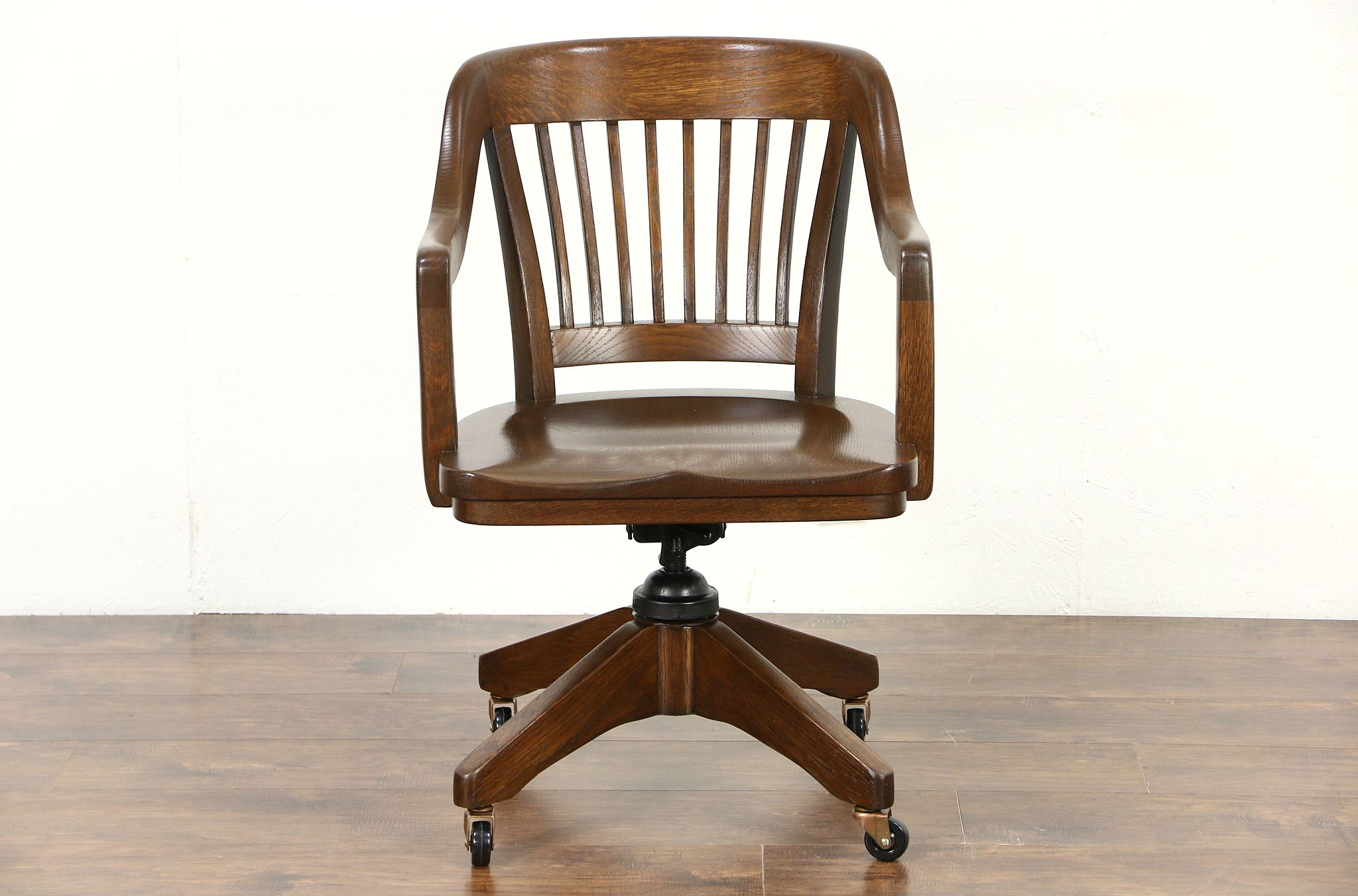 antique swivel office chair. Oak Quarter Sawn 1915 Antique Swivel Adjustable Desk Chair, Signed Marble Office Chair V
