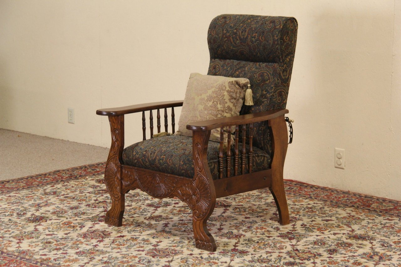 Morris Chair, 1900 Antique Oak Adjustable Recliner, Green Upholstery - SOLD - Morris Chair, 1900 Antique Oak Adjustable Recliner, Green
