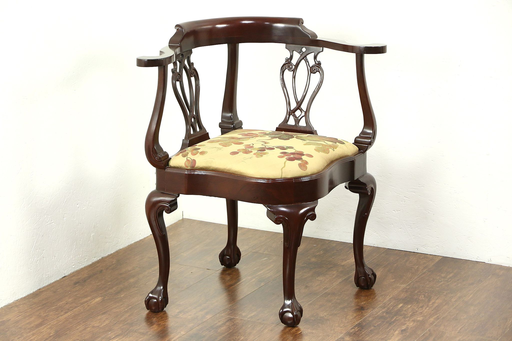 Hancock And Moore Mahogany Corner Chair With Claw And Ball Feet