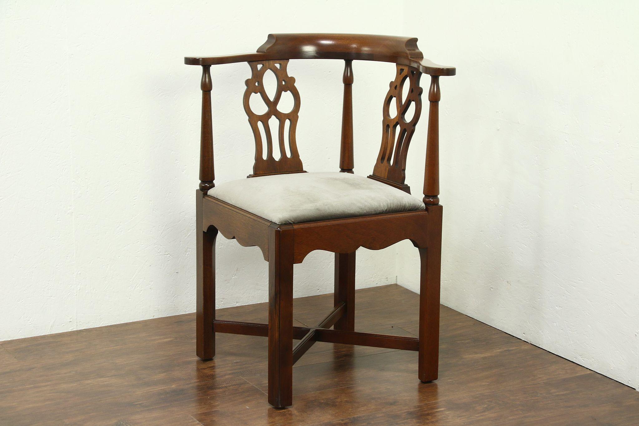 Georgian Mahogany Vintage Corner Chair Signed Hickory Photo