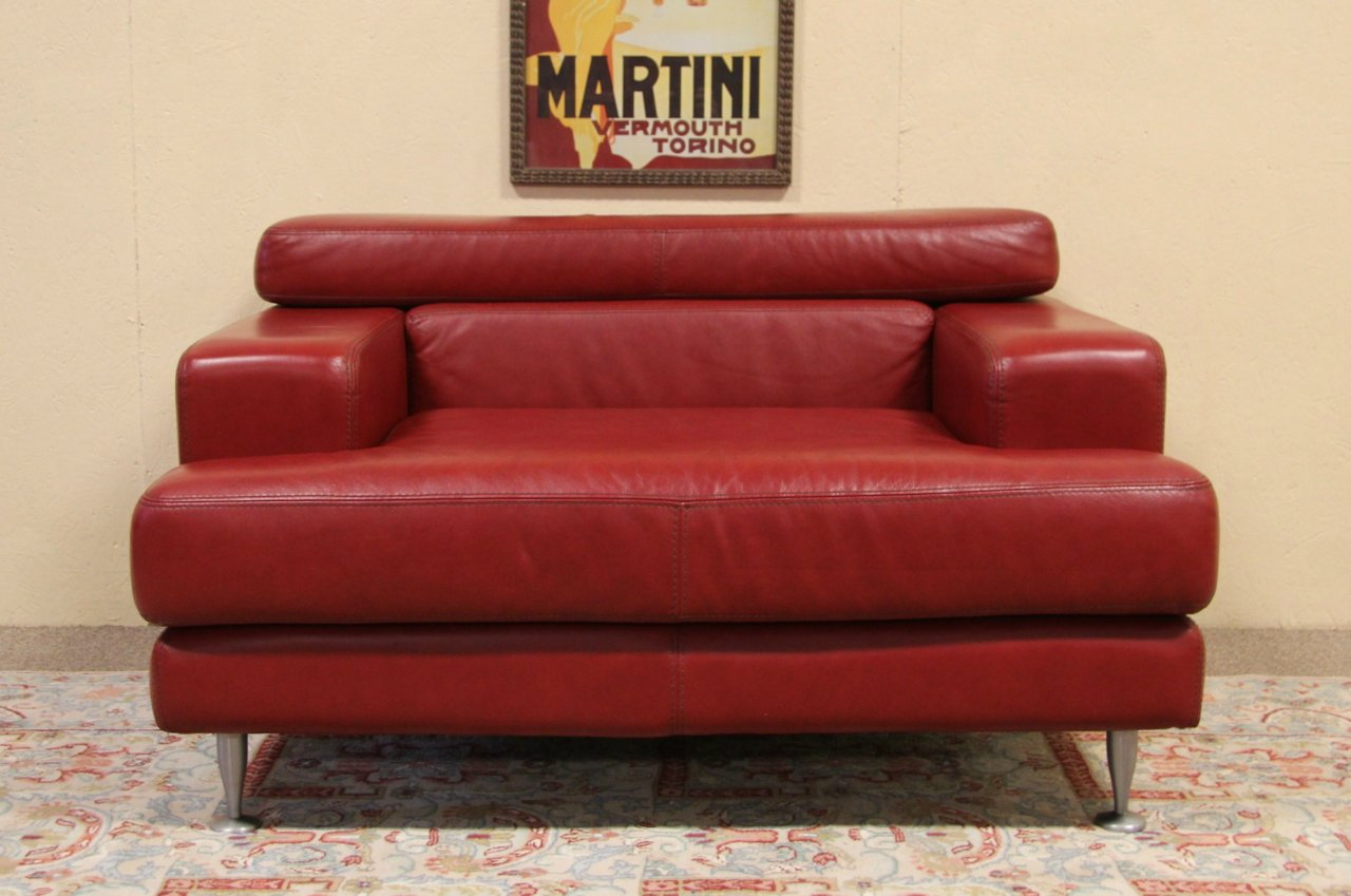 Sold Divani Italian Red Leather Vintage Wide Chair
