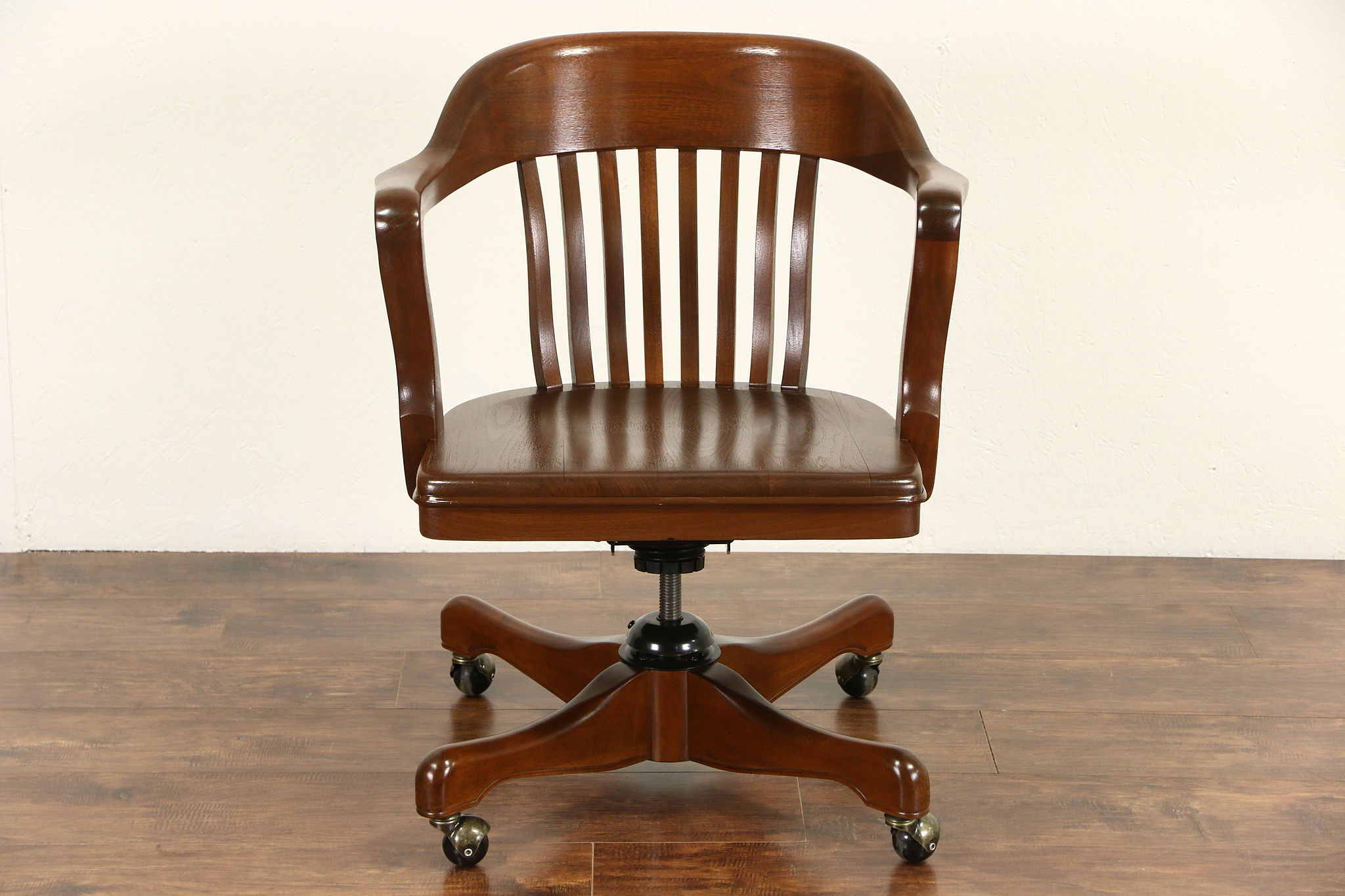 Walnut 1930 S Vintage Swivel Adjule Desk Chair Signed Kendrick