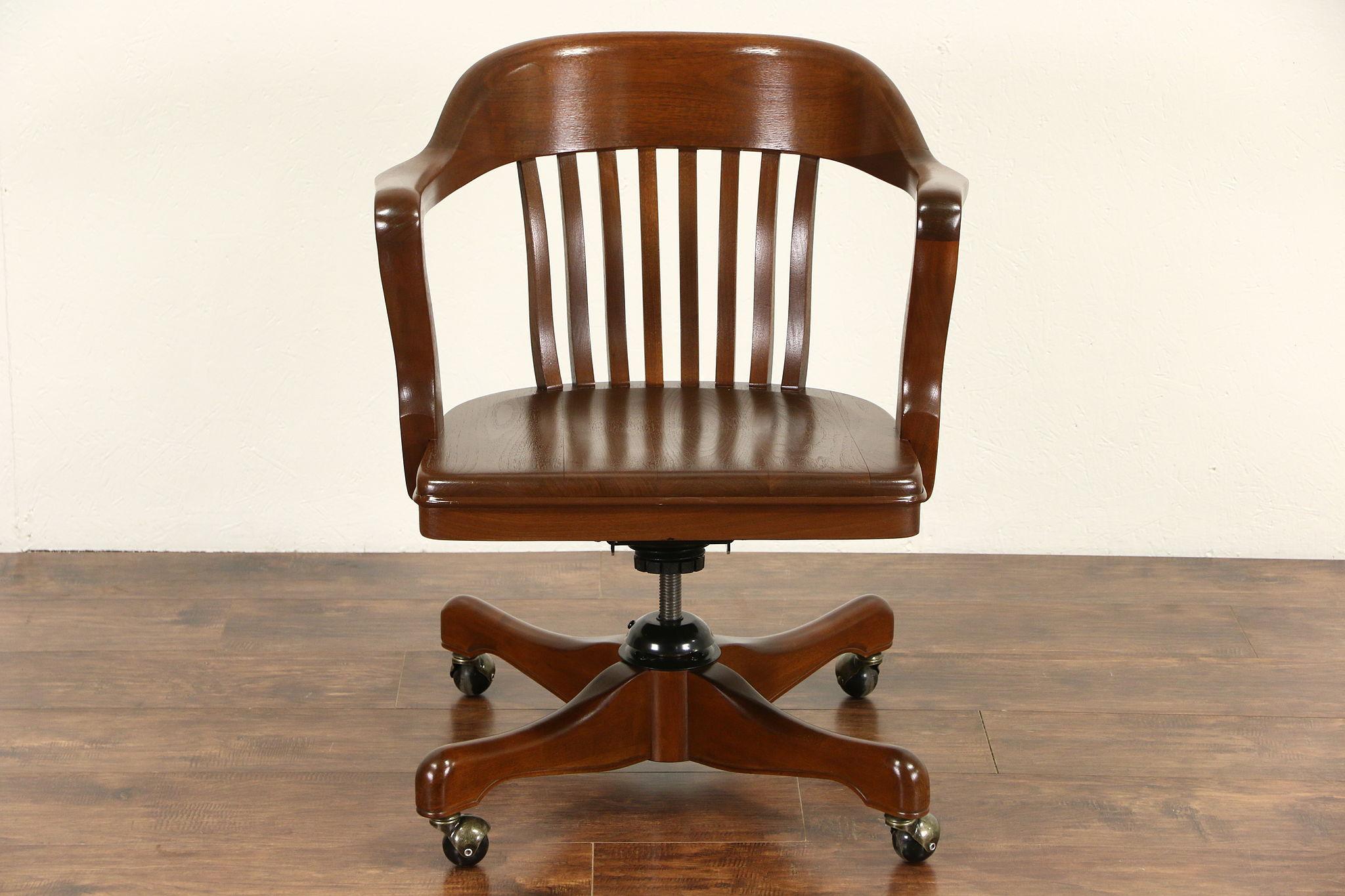 SOLD Walnut 1930 s Vintage Swivel Adjustable Desk Chair Signed