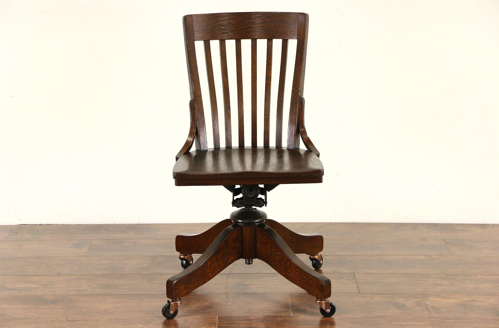 SOLD Oak Antique 1910 Adjustable Swivel fice or Library Desk