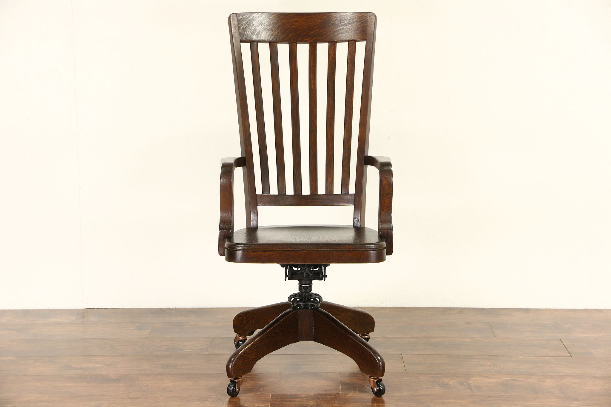 Oak Antique 1900 High Back Swivel Adjustable Library Or Office Desk Chair