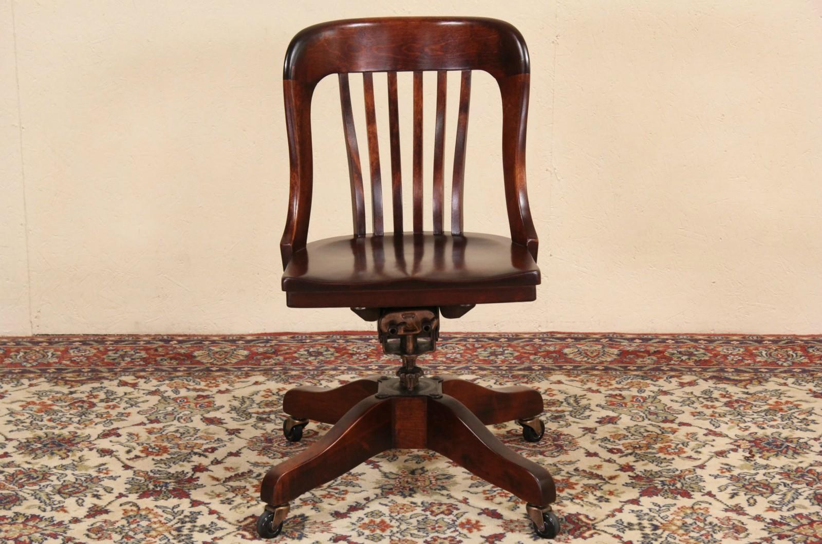 Marble Shattuck Signed Swivel Adjule Antique 1915 Desk Chair