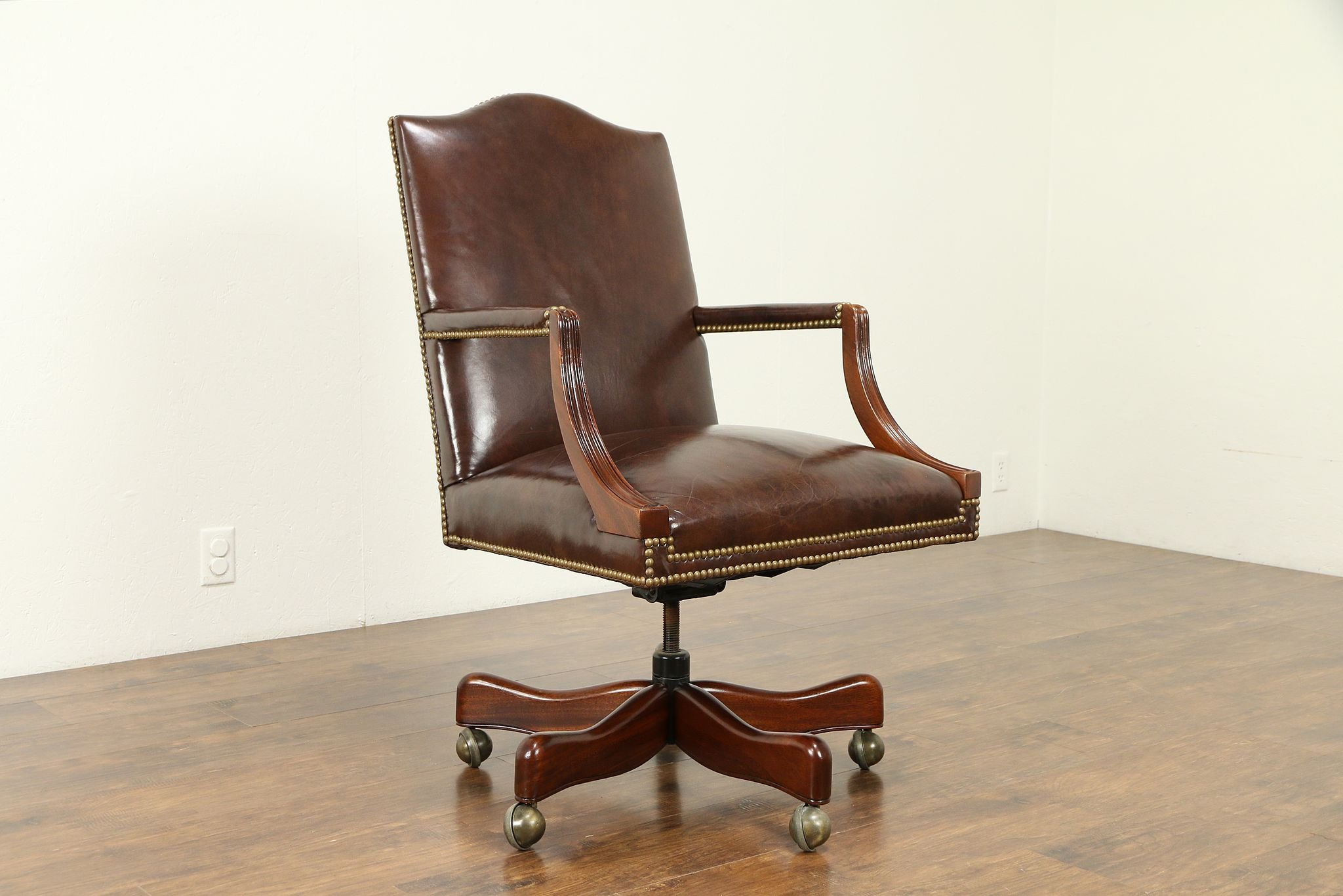 info for d0f3d 48944 Leather & Mahogany Swivel Vintage Adjustable Desk Chair, Signed Hickory  #31127