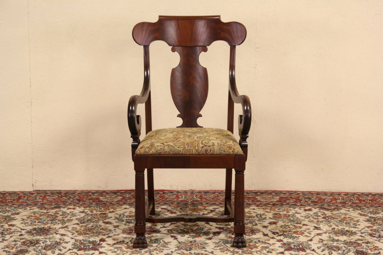 Empire Mahogany 1900 Antique Chair, Arms & Paw Feet - SOLD - Empire Mahogany 1900 Antique Chair, Arms & Paw Feet - Harp
