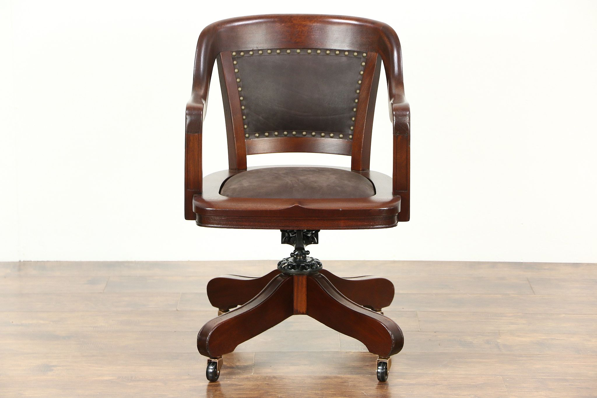 sold swivel adjustable antique desk chair mahogany leather