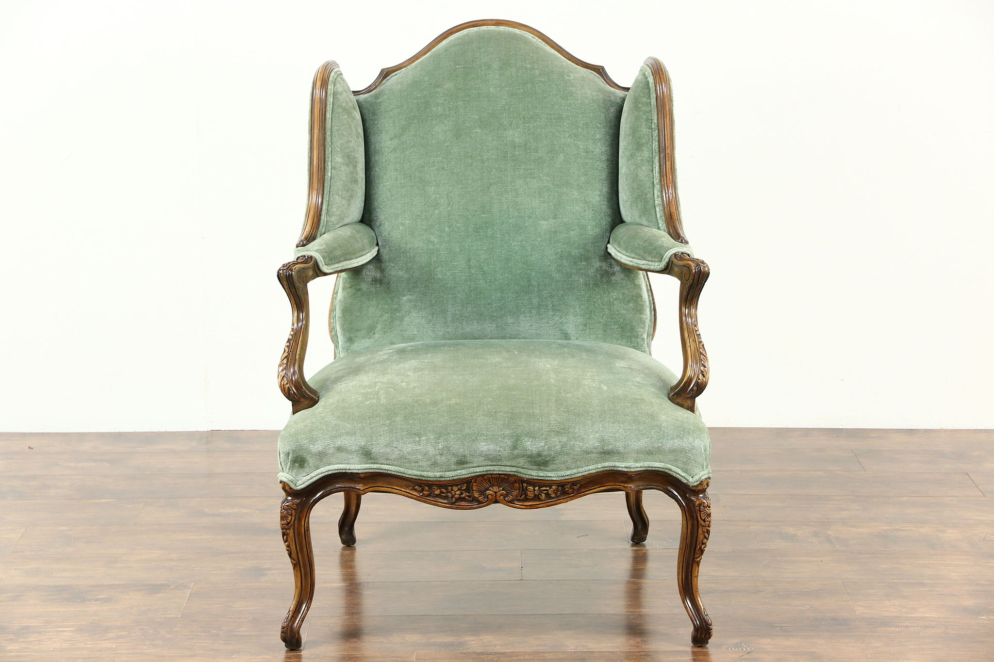 Country French Carved Fruitwood Vintage Large Wing Chair Recent Velvet & SOLD - Country French Carved Fruitwood Vintage Large Wing Chair ...