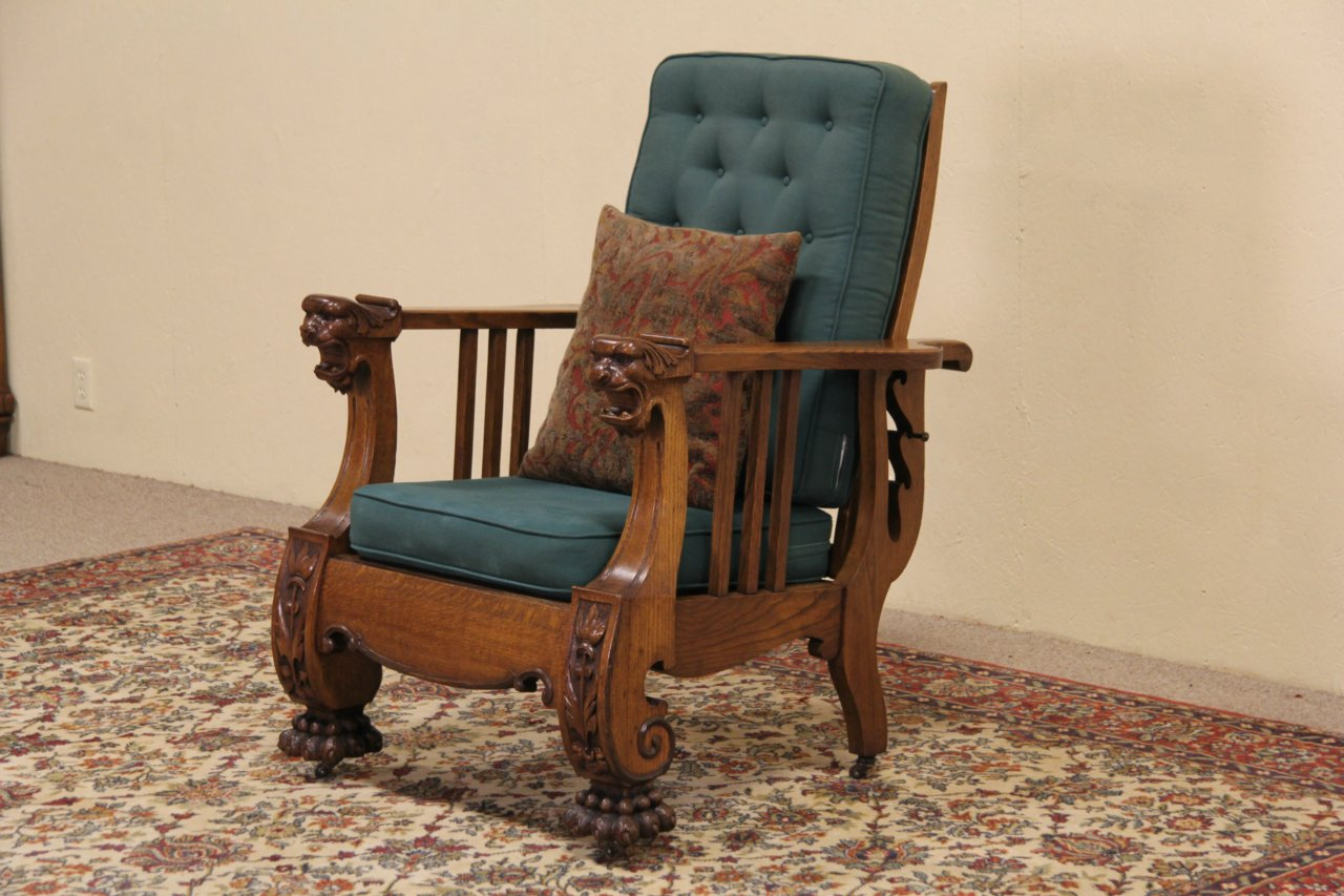 Morris Reclining Chair, 1900 Antique, Carved Oak Lion Heads & Paws - SOLD - - Antique Reclining Chair Antique Furniture
