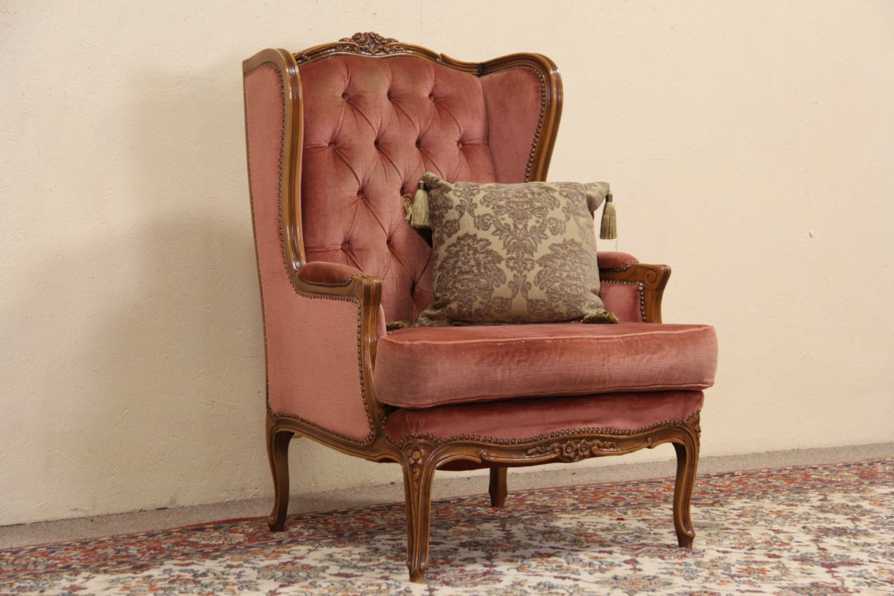 Sold French Style Carved Vintage Velvet Wing Chair