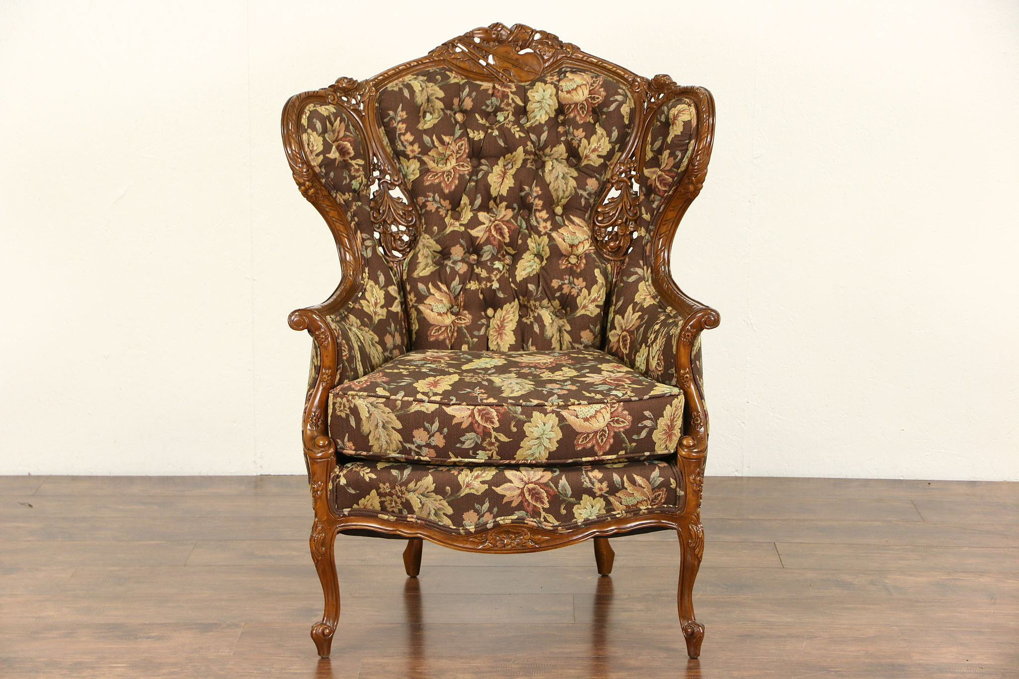 Carved Motif Wing Chair 1940 S Vintage New Upholstery