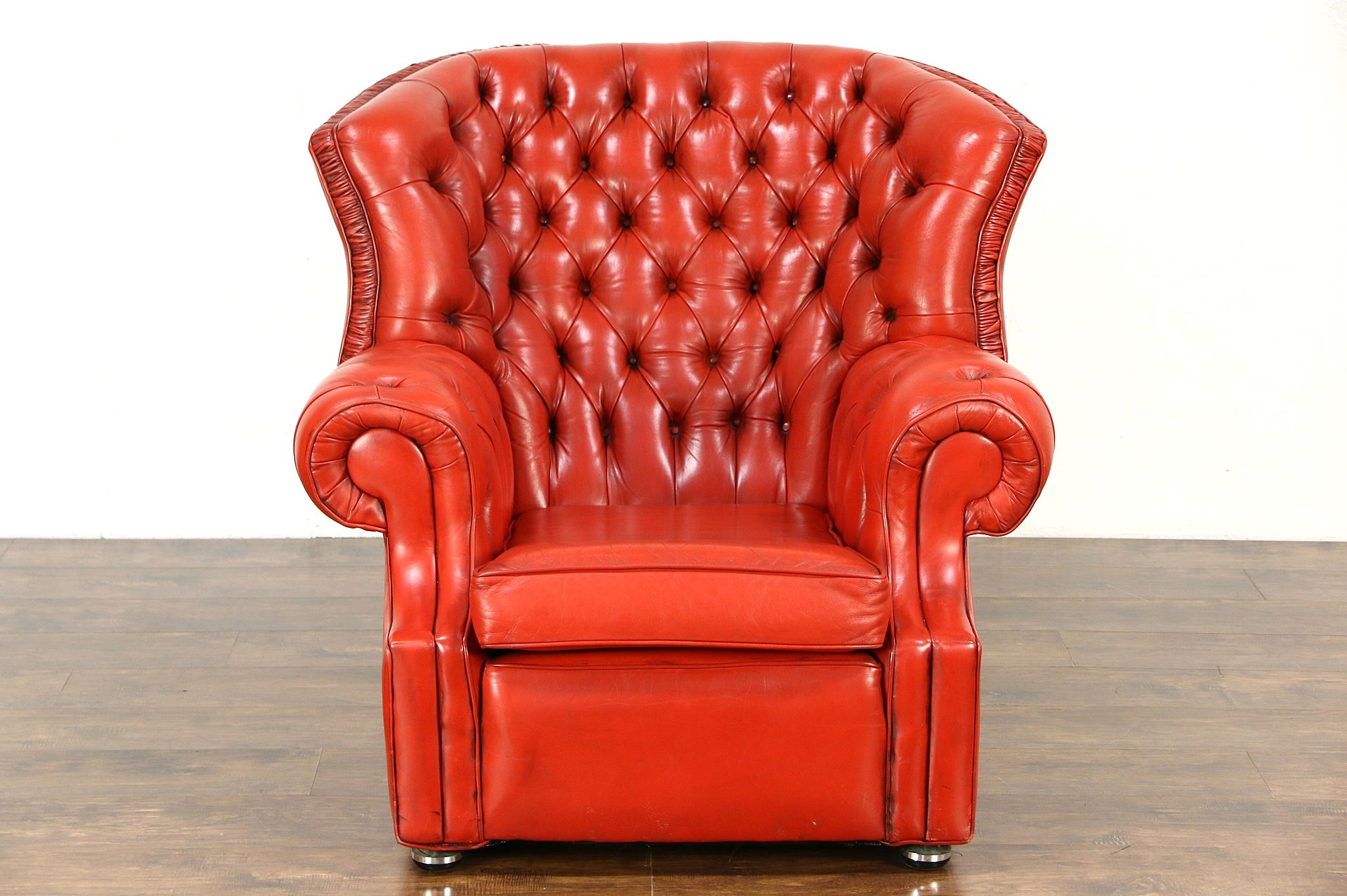 Red Tufted Leather Vintage Scandinavian Traditional Wing Chair