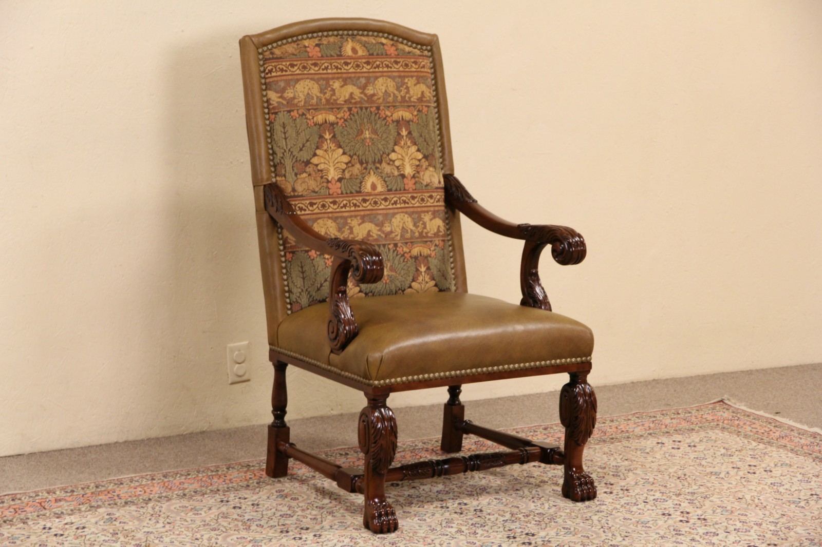 Whittemore Sherrill Leather U0026 Tapestry Carved Mahogany Throne Chair With  Arms