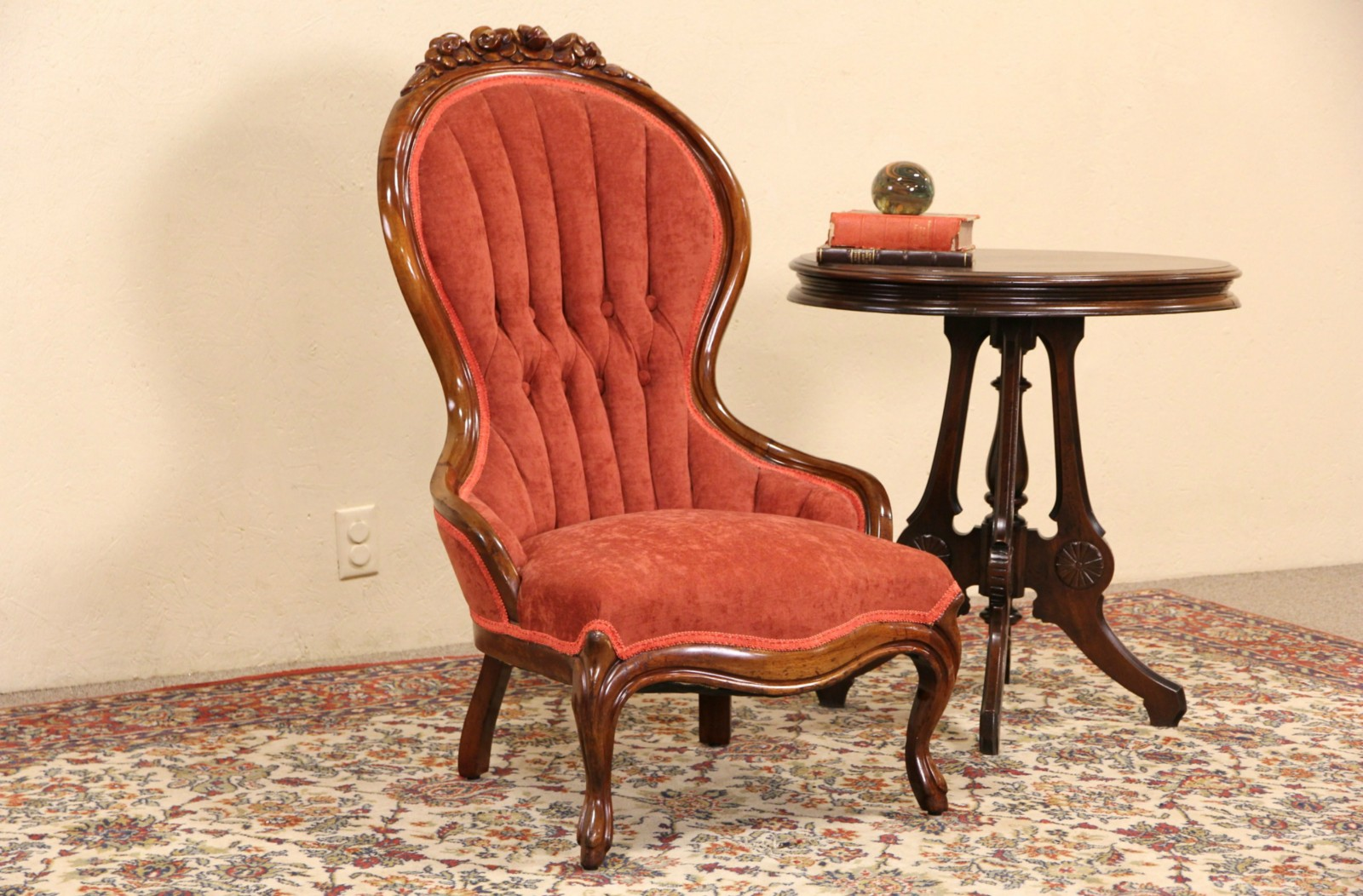 Sold Victorian 1920 Antique Carved Mahogany Chair Harp