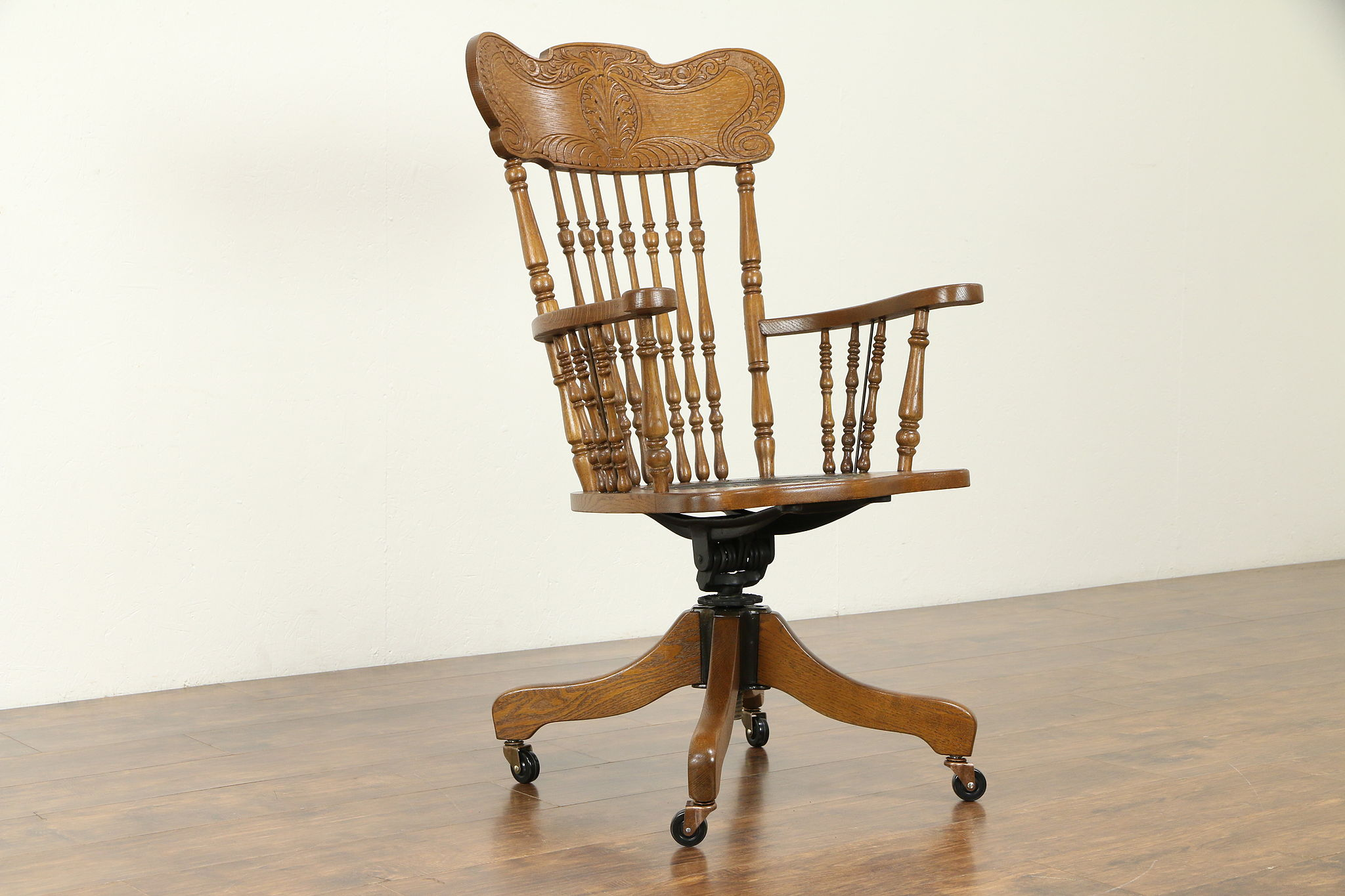 Victorian Antique 1900 Oak Pressback Swivel Desk Chair Leather Meyer 31381