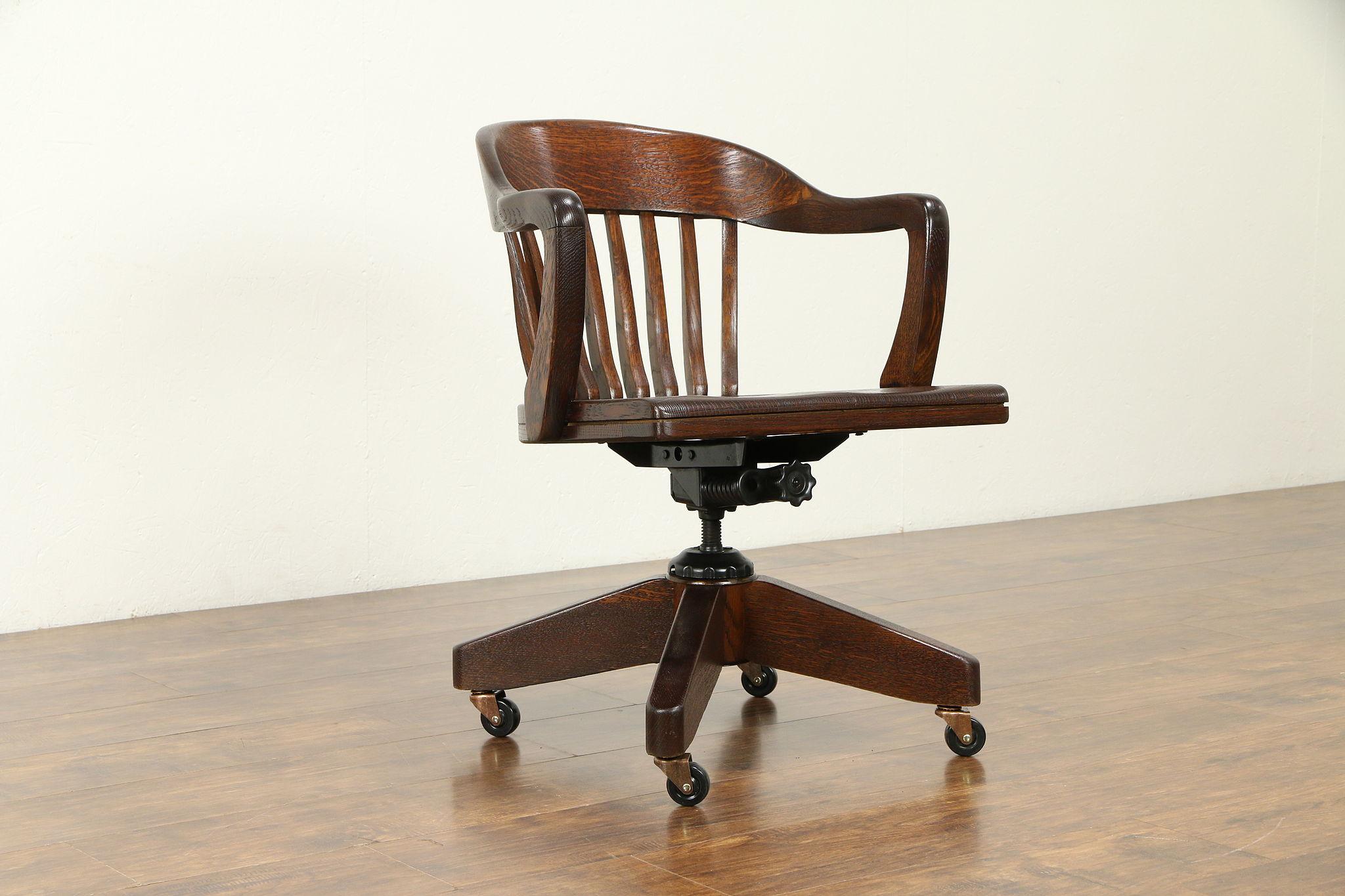 Fantastic Oak Quarter Sawn 1930 Vintage Swivel Adjustable Desk Chair 31383 Spiritservingveterans Wood Chair Design Ideas Spiritservingveteransorg