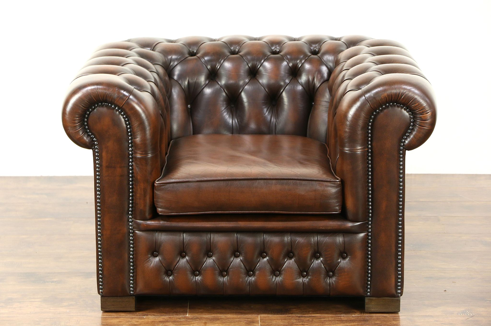 Chesterfield Tufted Brown Leather Vintage Scandinavian Tub Chair ...