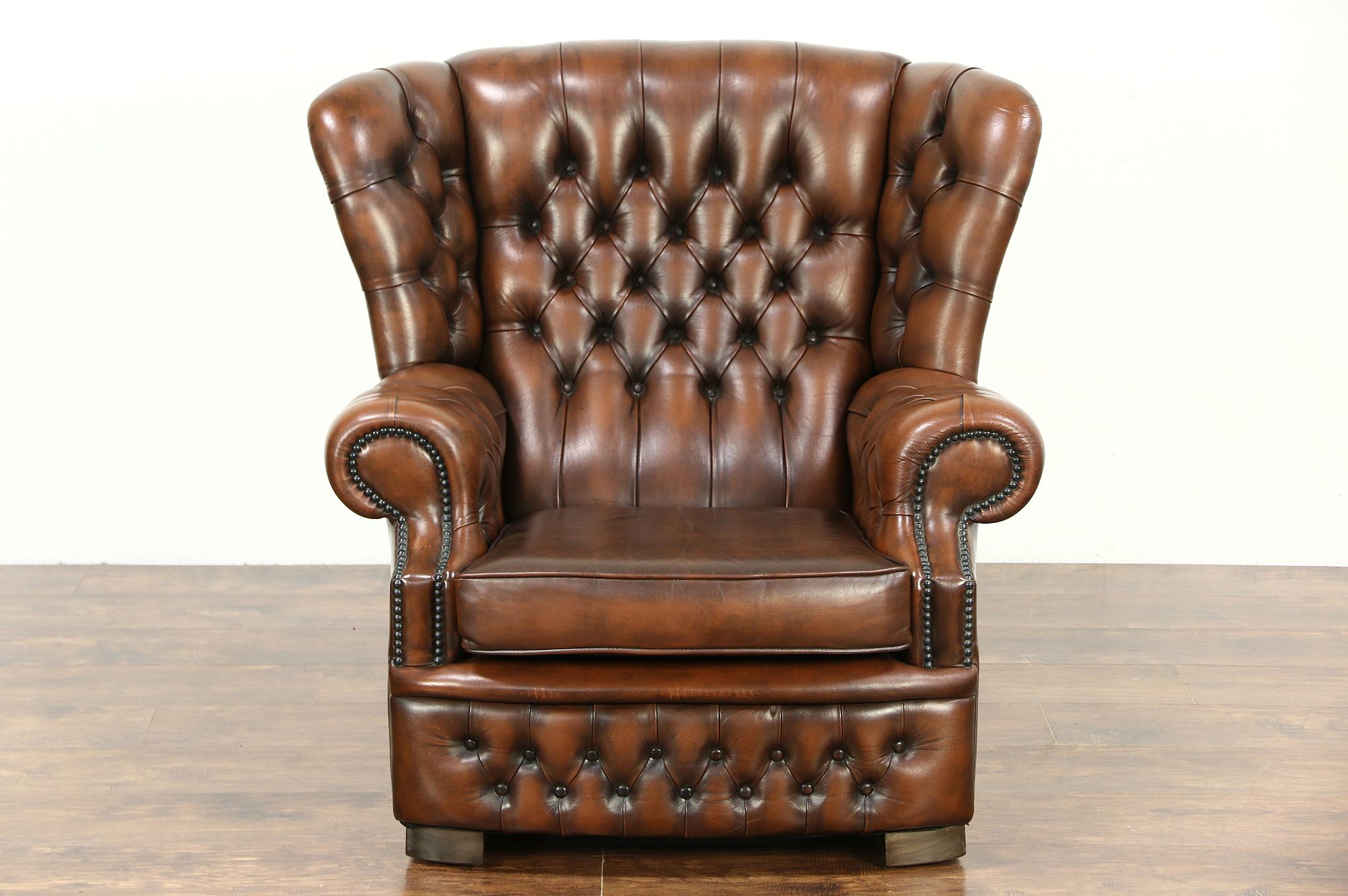 Sold Tufted Brown Leather Vintage Scandinavian Wing