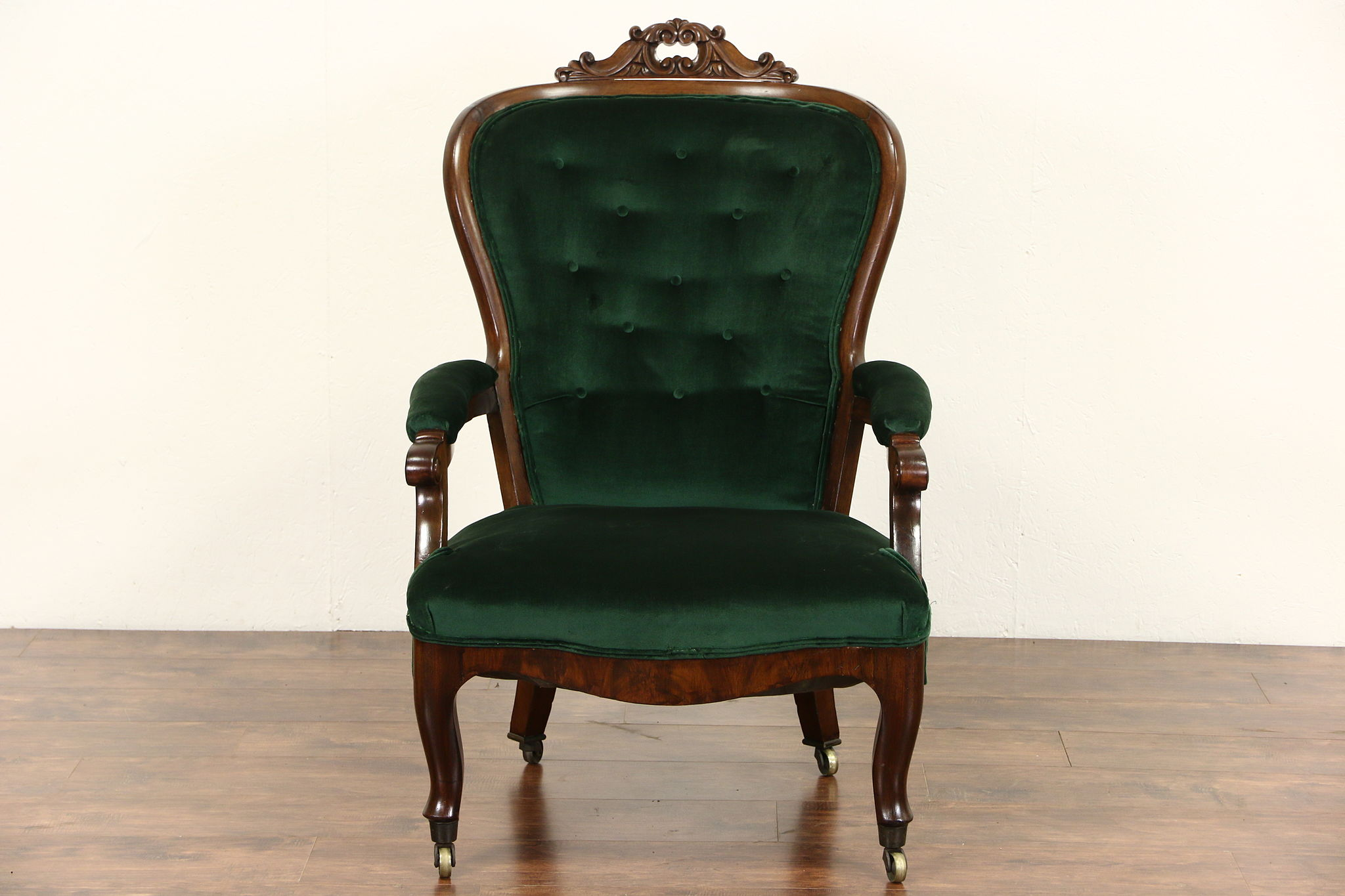 SOLD Victorian 1860 Antique Carved Walnut Gents Chair w
