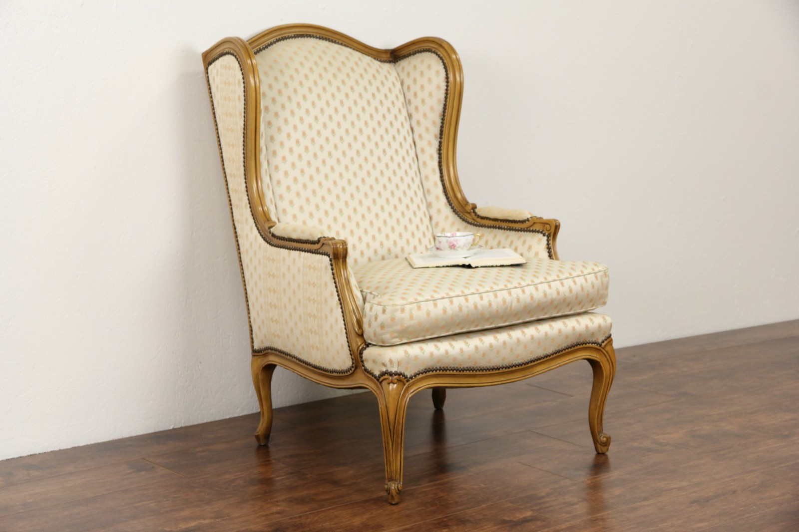 Sold Baker Signed Vintage Fruitwood Wing Chair Harp