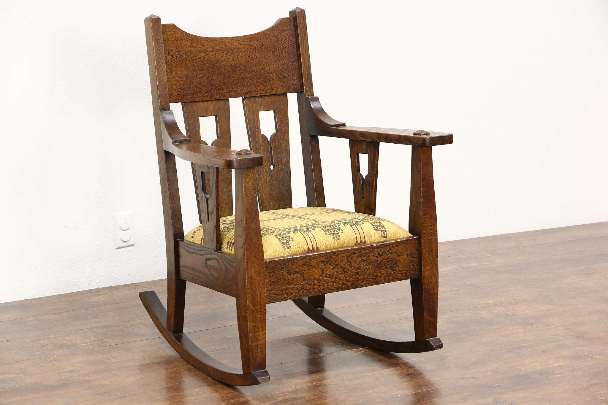 Arts U0026 Crafts Mission Oak Antique Rocker, Craftsman Rocking Chair New  Upholstery ...