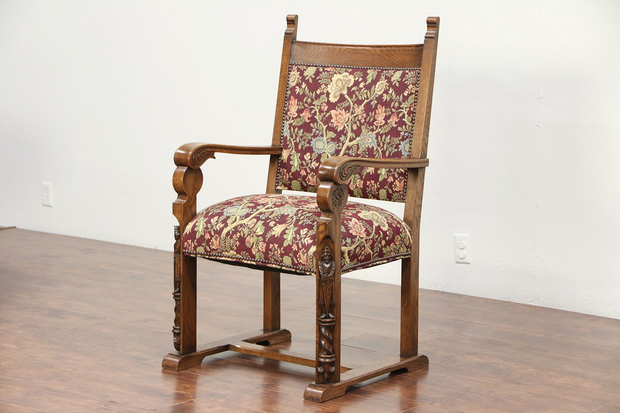 Sold Oak Antique Desk Chair Carved Knights Tapestry