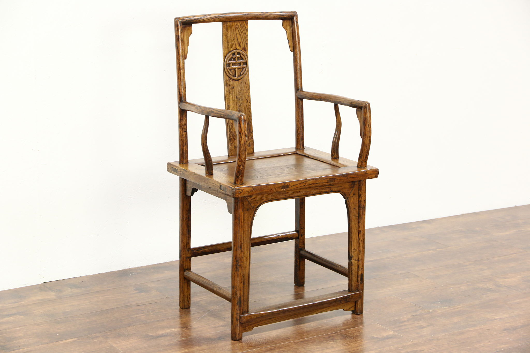 Chinese Ming Dynasty Style Antique 1900 Carved Elm Chair