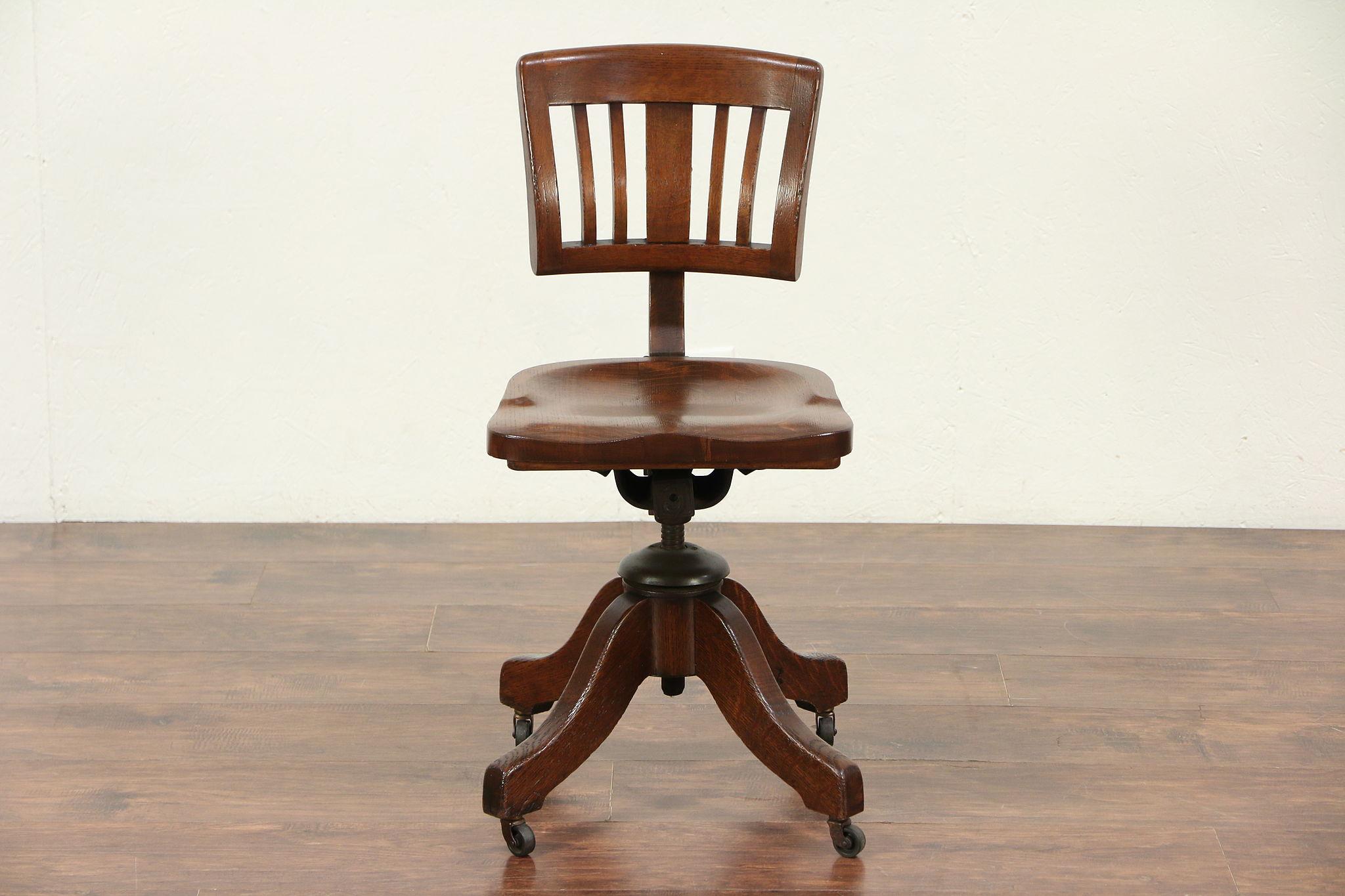 Sold Oak Antique 1930 S Vintage Adjustable Swivel Small Desk Chair Johnson 29439 Harp Gallery Antiques Furniture