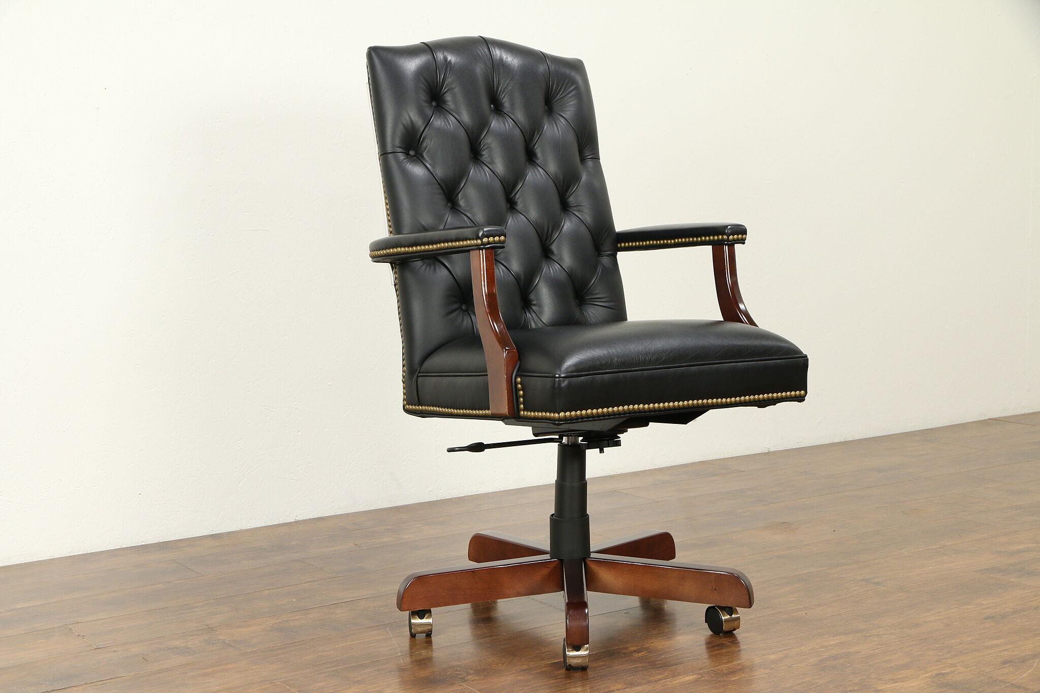 Fine Tufted Leather Vintage Swivel Adjustable Desk Chair Jasper 31759 Spiritservingveterans Wood Chair Design Ideas Spiritservingveteransorg
