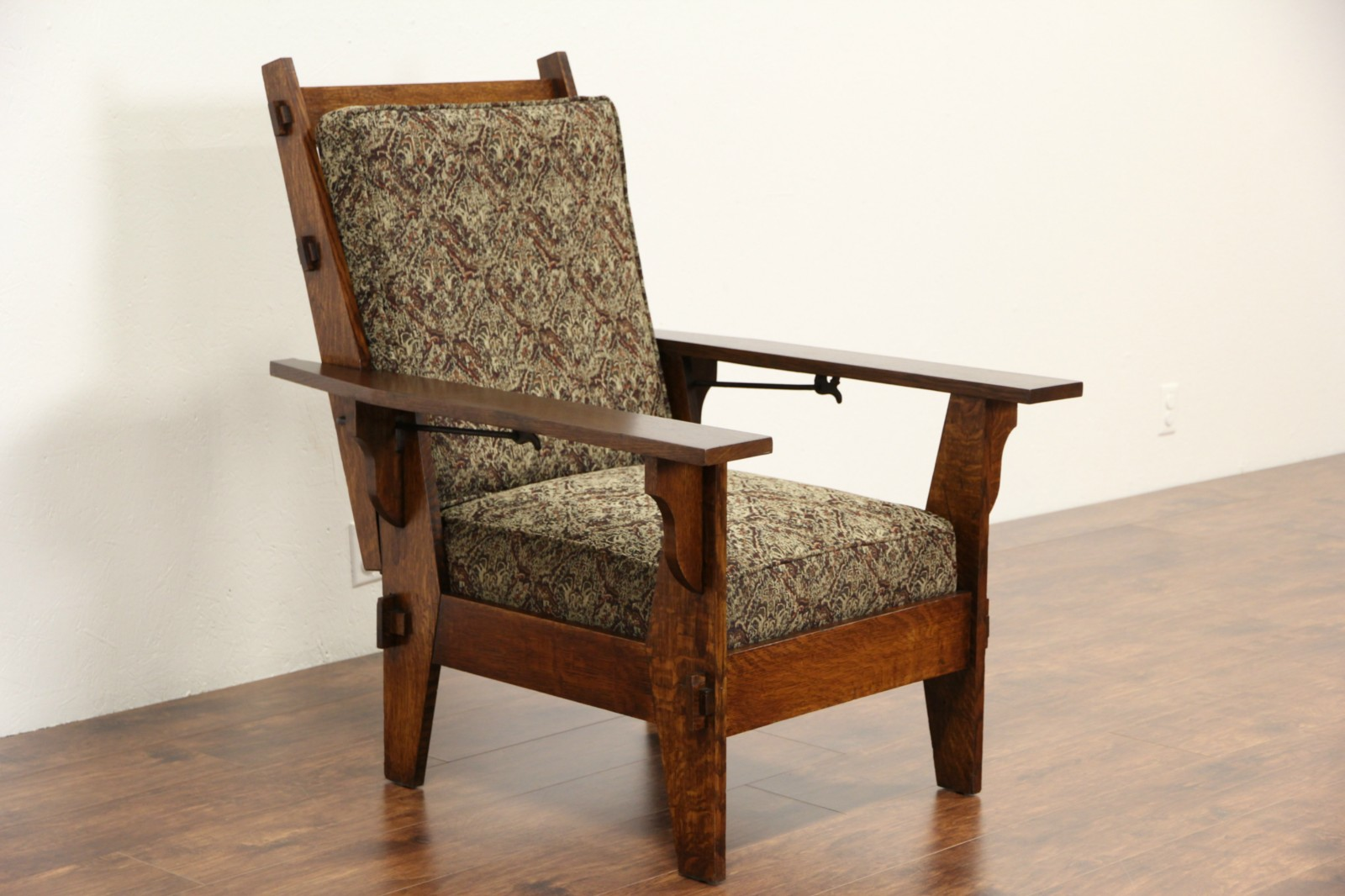 Arts U0026 Crafts Mission Oak Antique 1905 Morris Chair Or Recliner, New  Upholstery