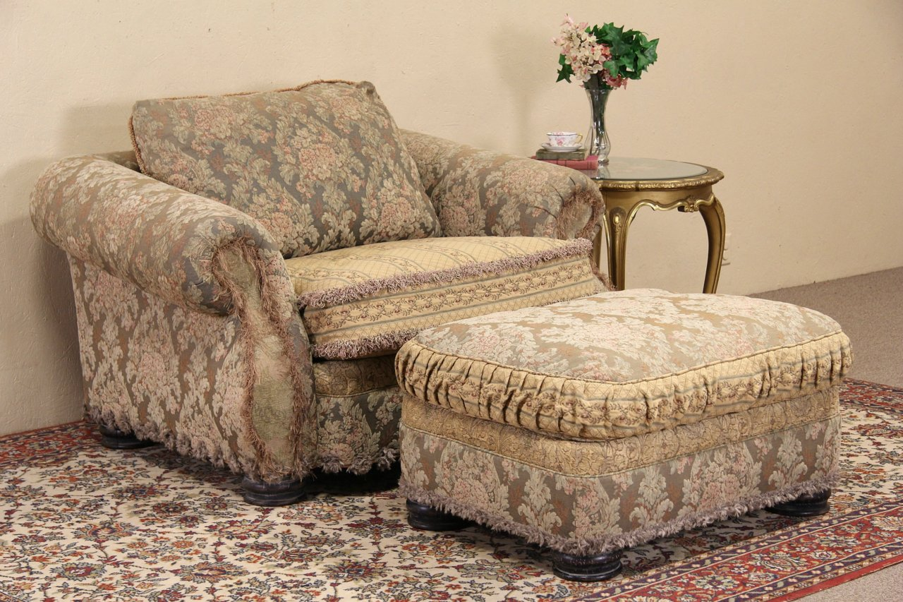 Bolton For EJ Victor Overstuffed Chair U0026 Ottoman Set