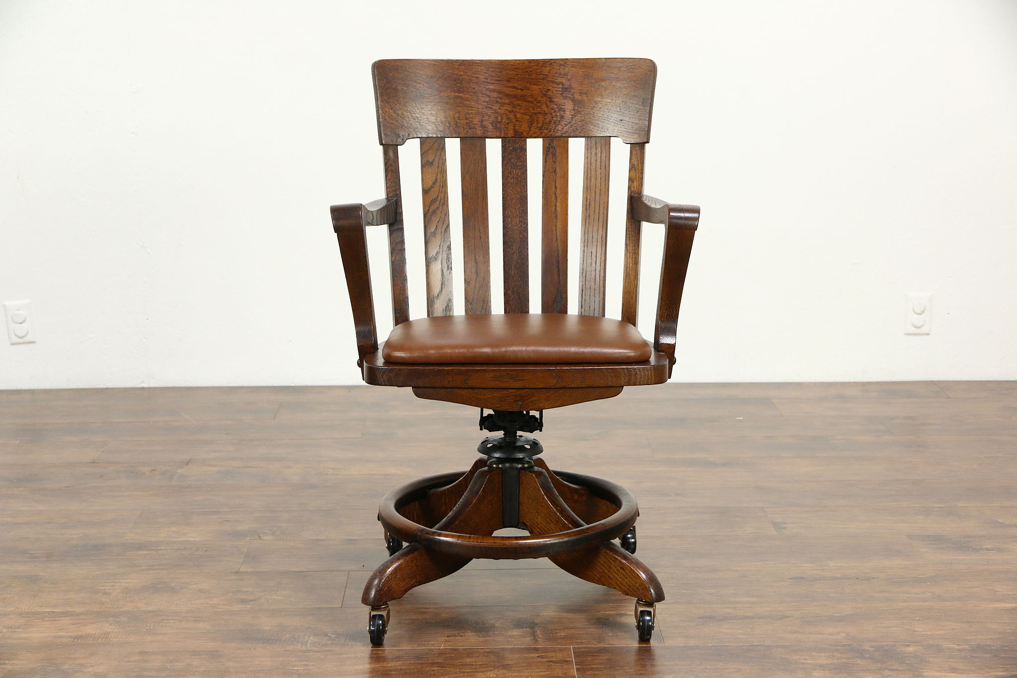 Sold Oak Swivel Adjule Antique Desk Chair With Arms Leather