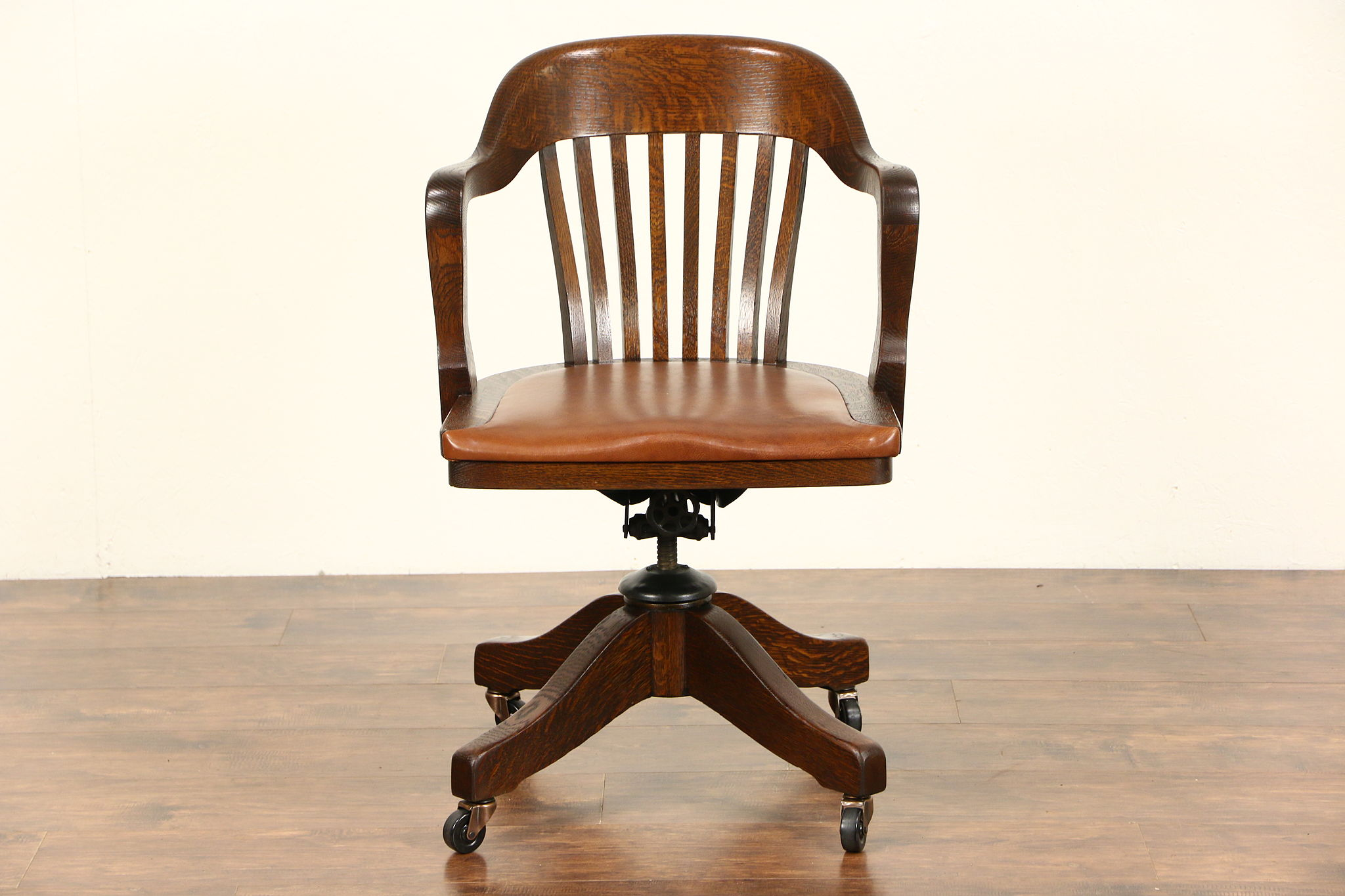 leather antique wood office chair leather antique. Plain Office Oak Swivel Adjustable Pat 1916 Antique Desk Chair Leather Seat Signed  Johnson Inside Wood Office Chair