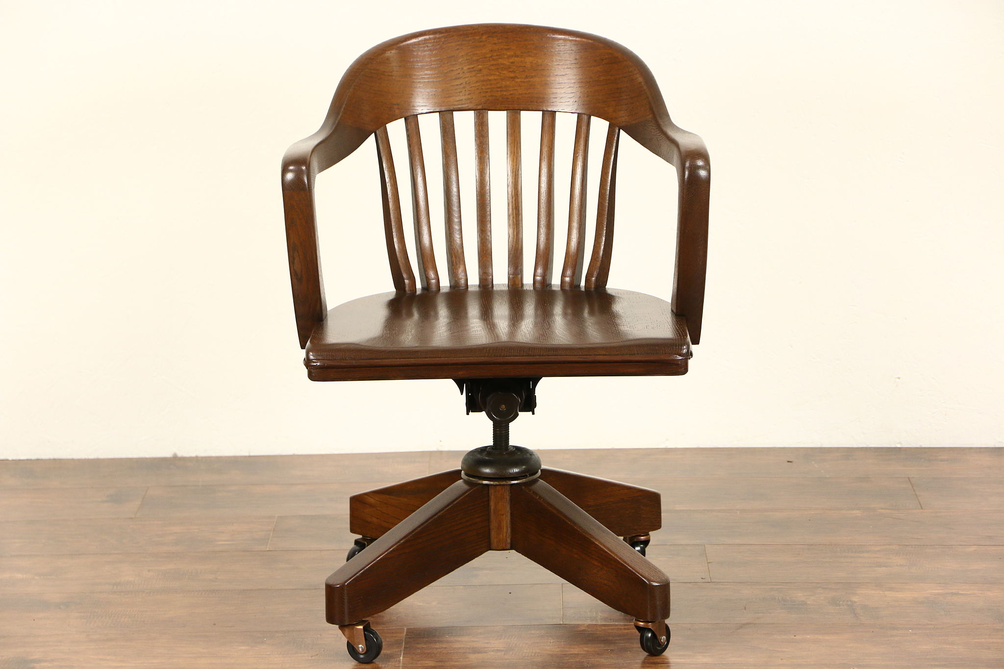 oak swivel adjustable 1930s vintage desk chair signed blackwell st louis antique wooden desk chair