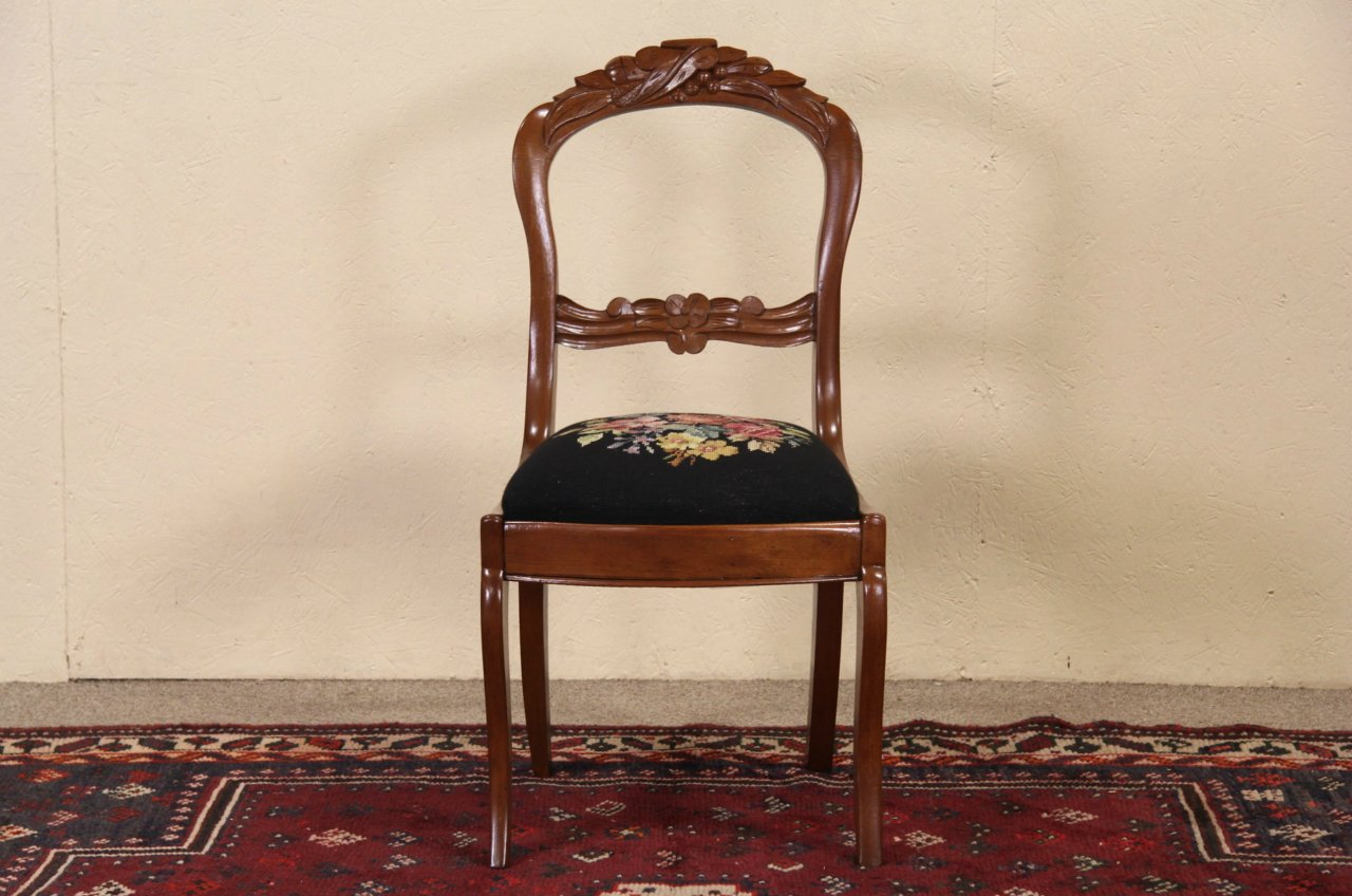 Victorian 1850 Antique Carved Desk Or Side Chair, Black Needlepoint ...
