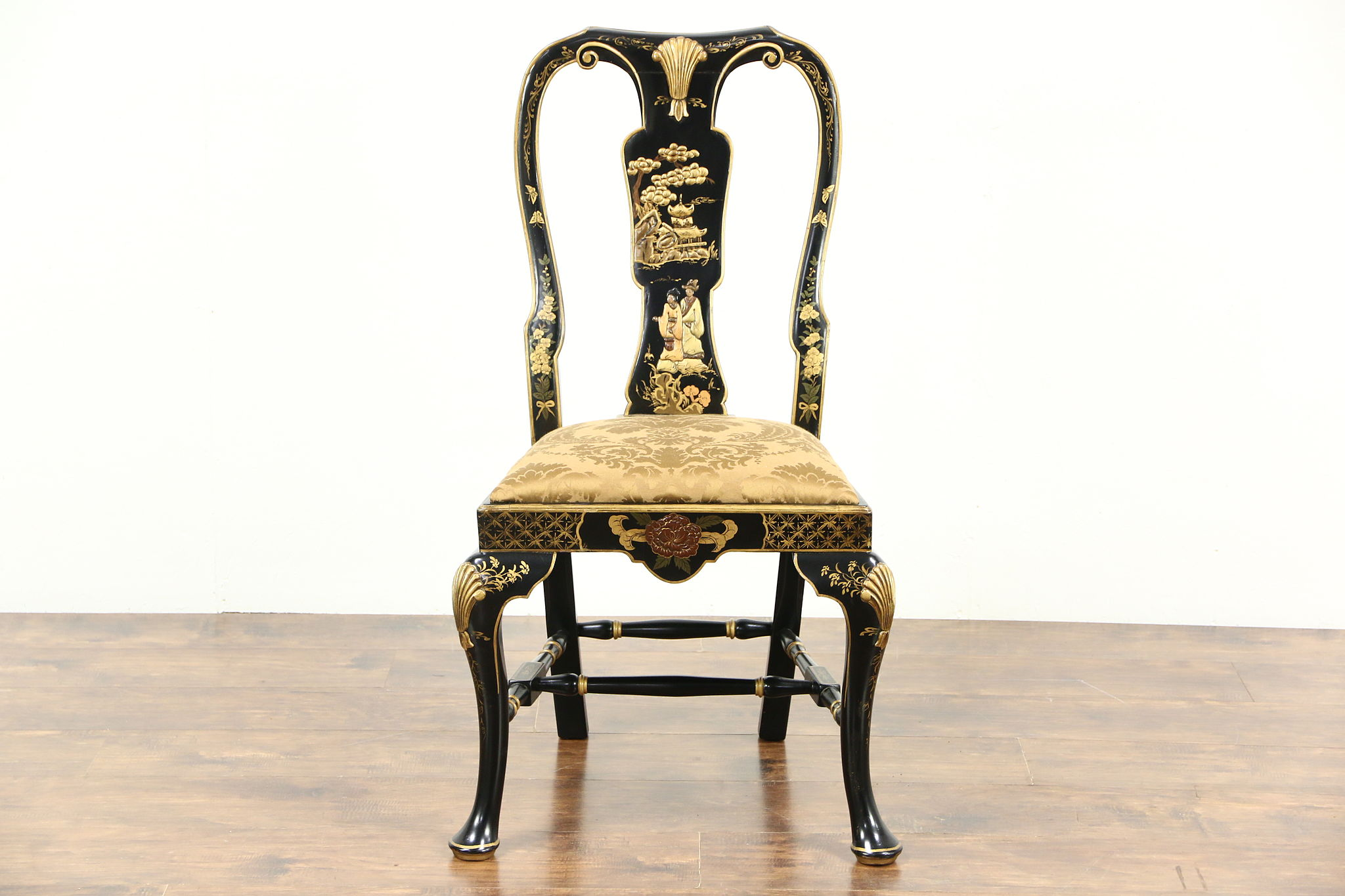 Chinese Style Hand Painted Vintage Desk or Side Chair Harp