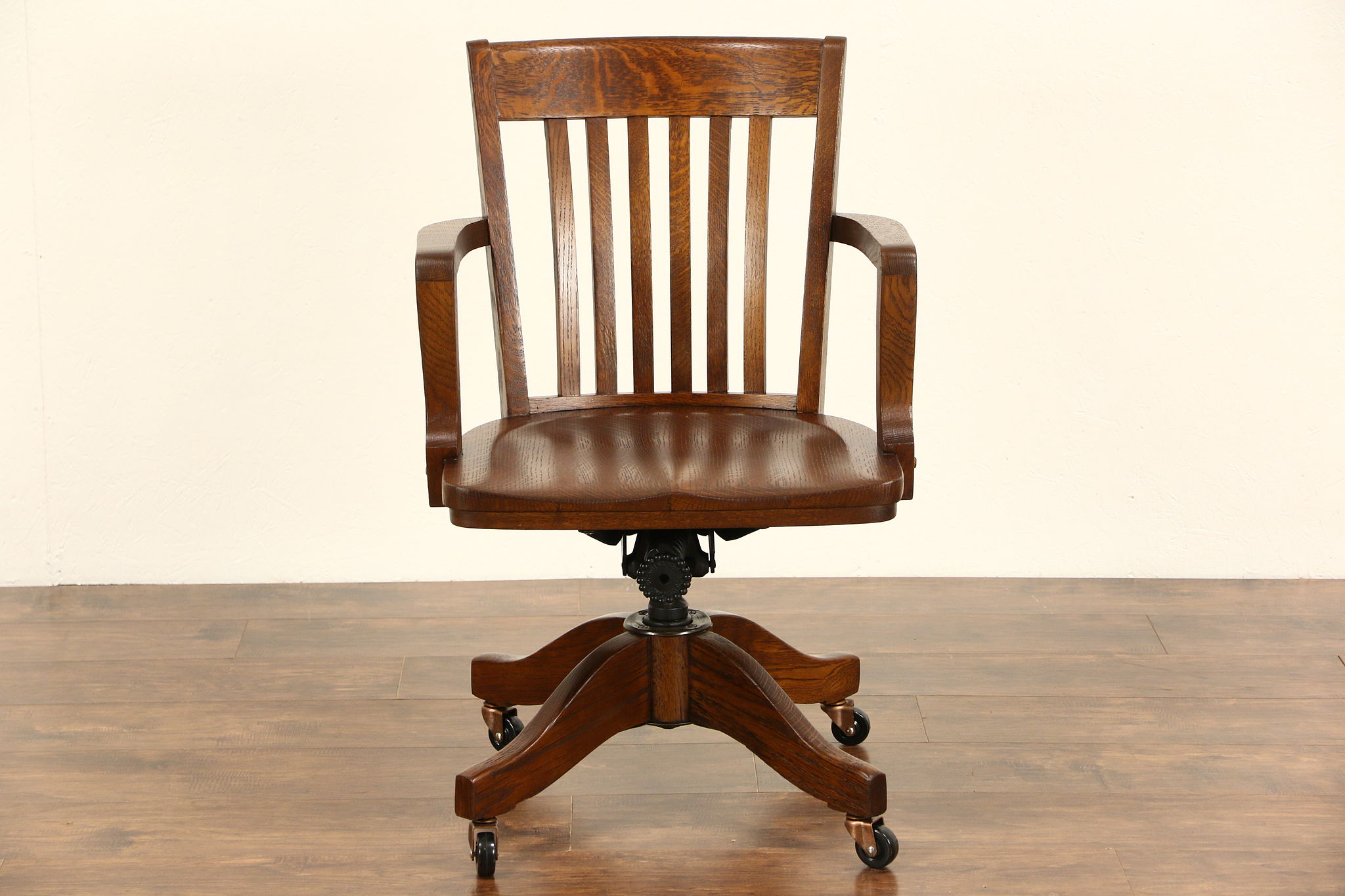 Sold Oak Swivel Adjustable 1910 Antique Desk Chair Signed Colonial Of Chicago Harp Gallery Antiques Furniture