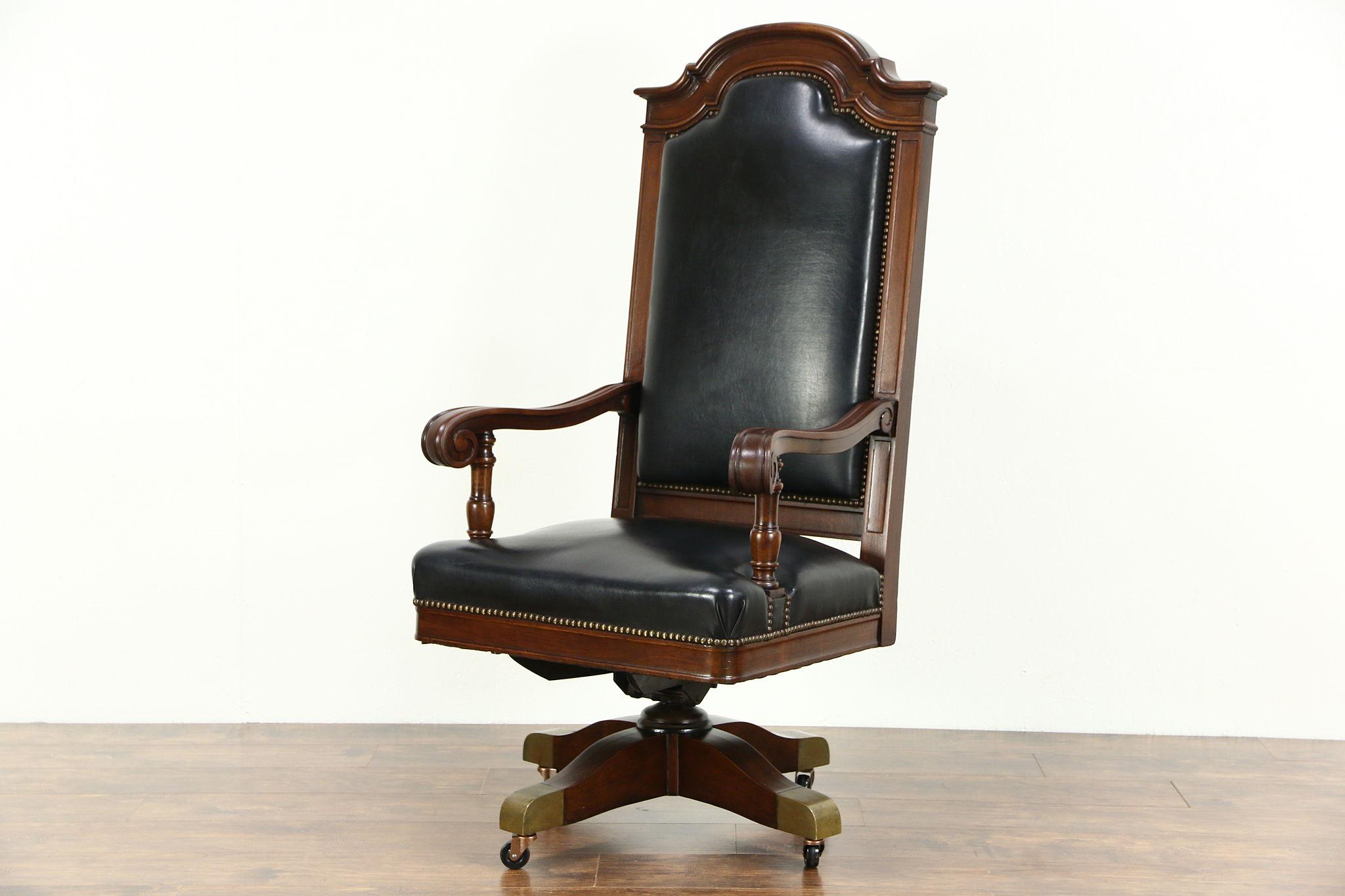 SOLD Judge Swivel 1915 Antique Walnut Leather Desk