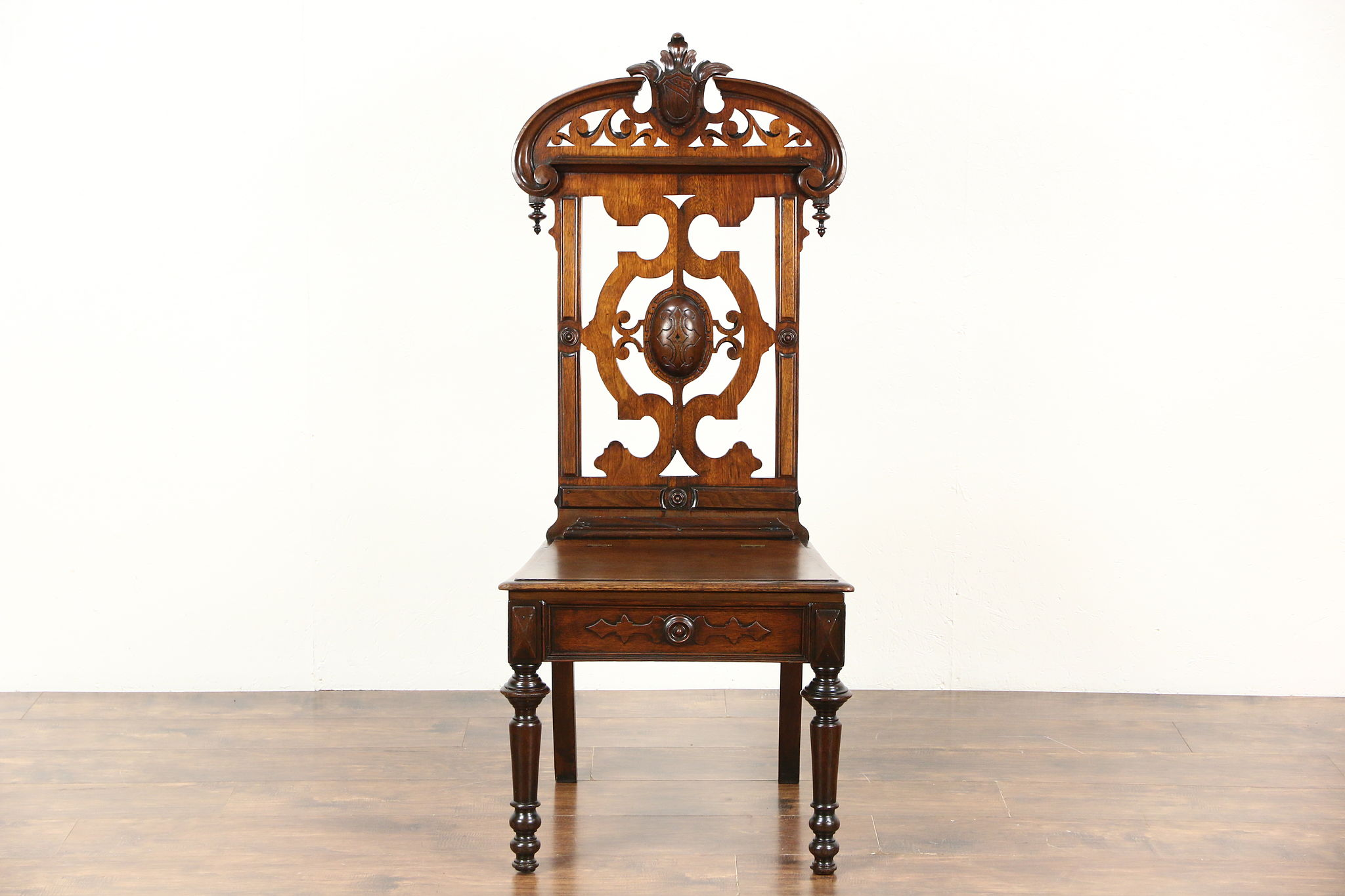 SOLD - Victorian Antique 1860 Carved Walnut Hall Chair, Lift Seat ...