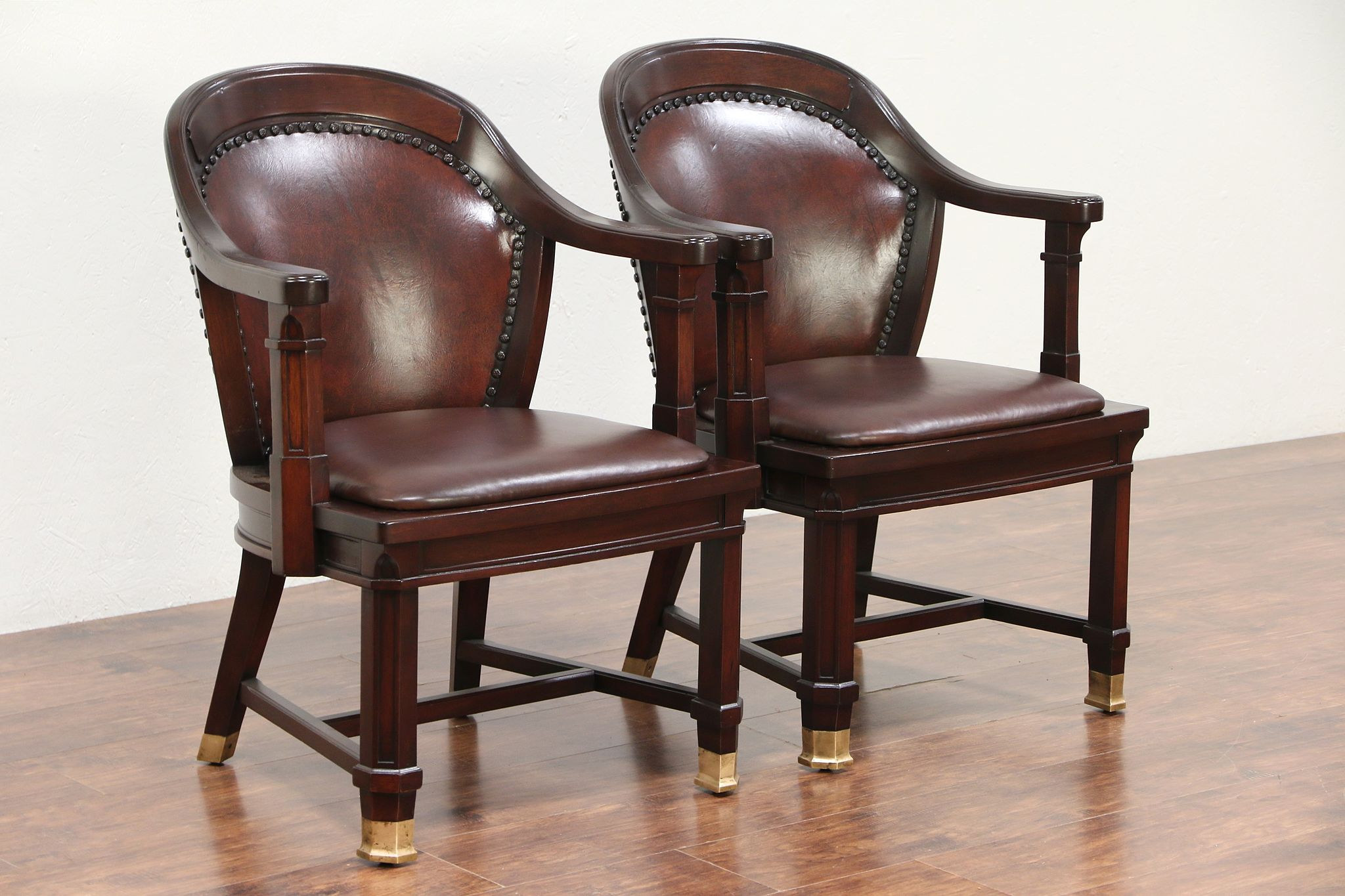 Pair Of Antique Mahogany Banker, Desk Or Office Chairs, Leather #29462 ...