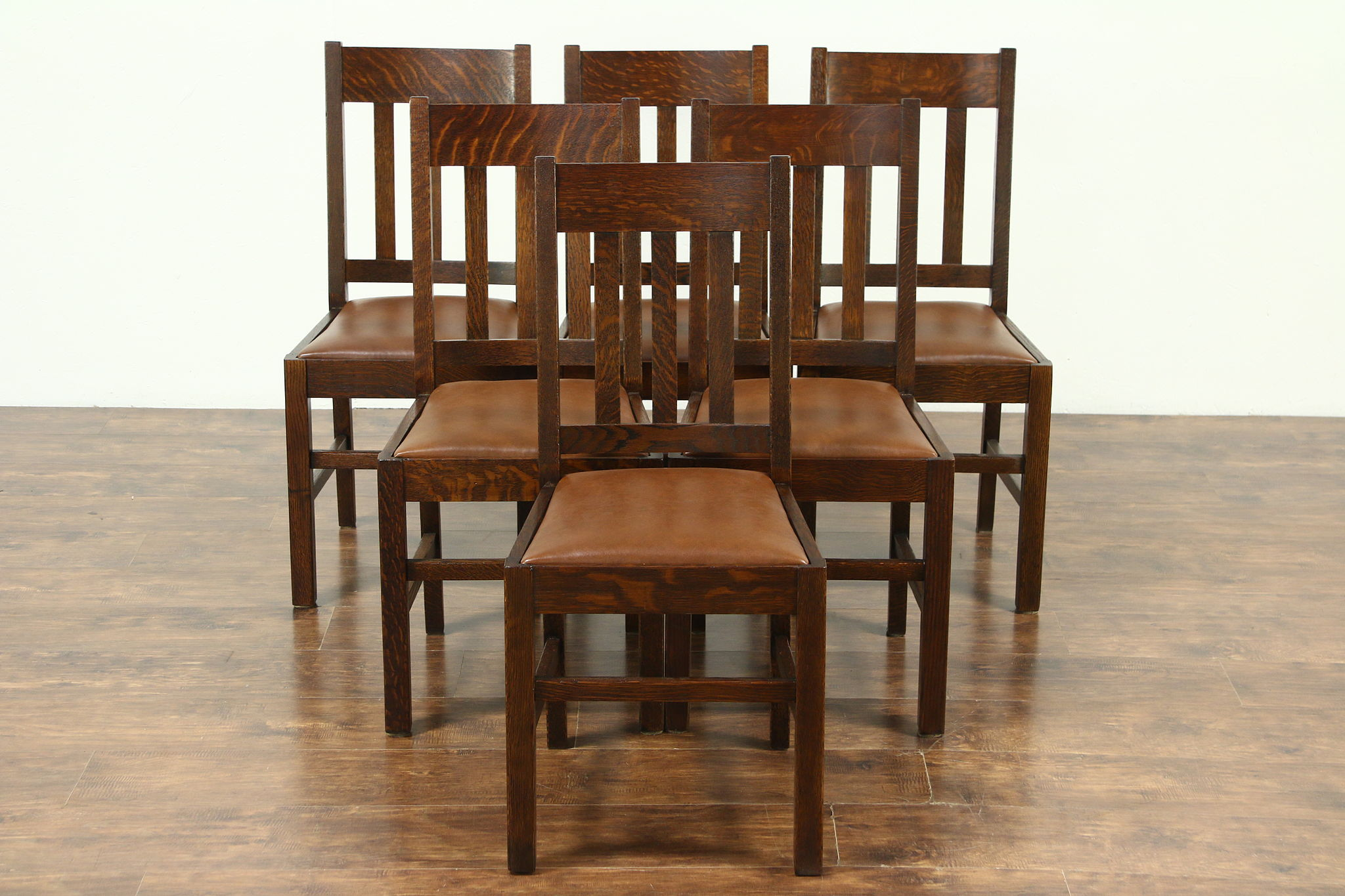 Set Of 6 Arts U0026 Crafts Mission Oak Antique Craftsman Dining Chairs Leather  Seats ...