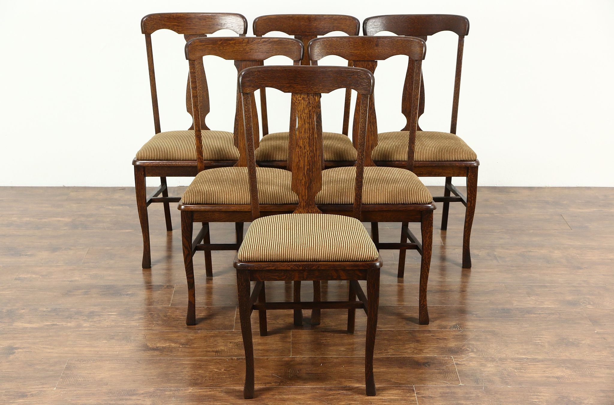 Set Of 6 Antique 1900 Quarter Sawn Oak Dining Chairs New Upholstery