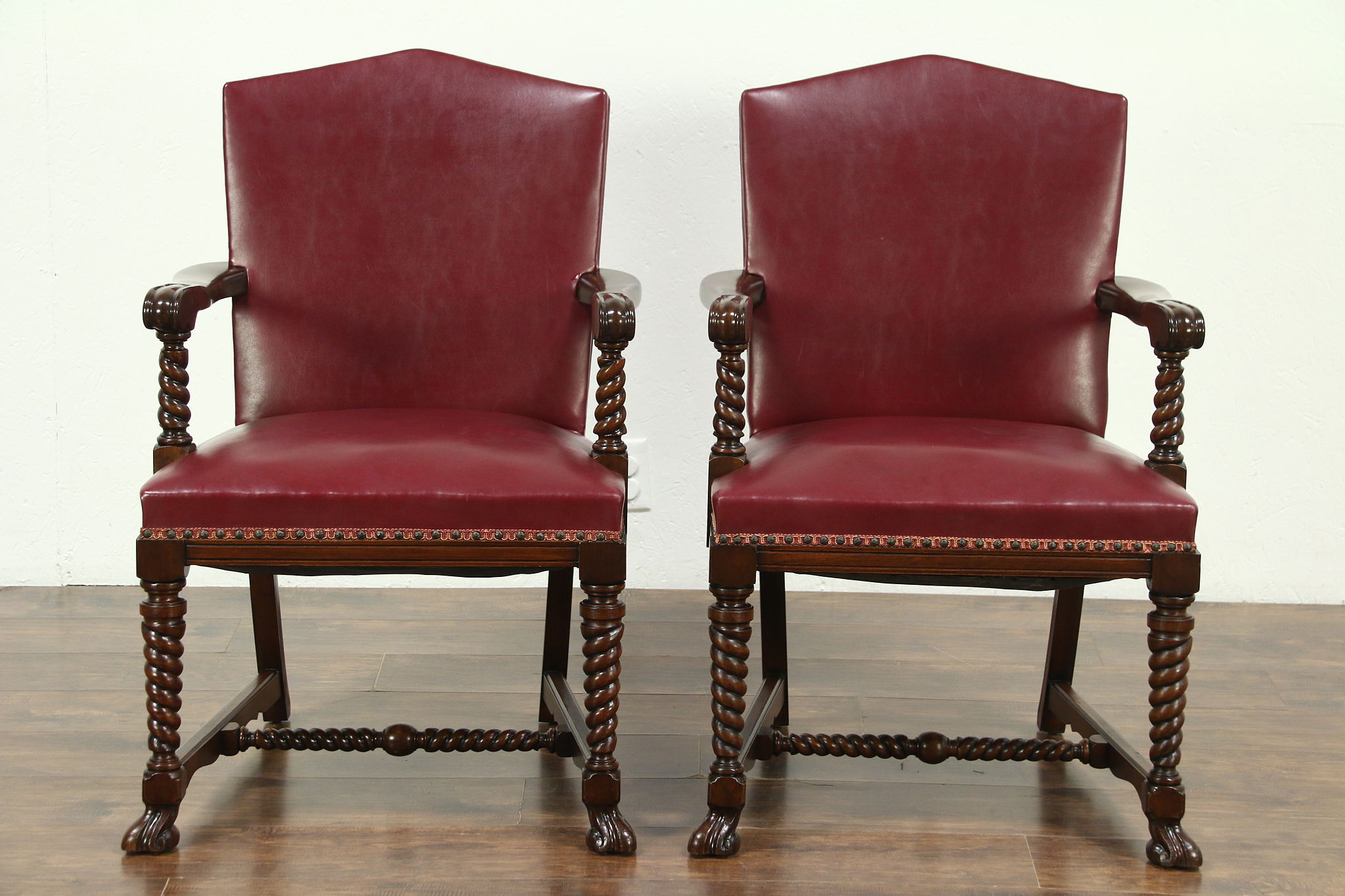 Sold Pair Of 1920 S Antique Red Faux Leather Library Or Office