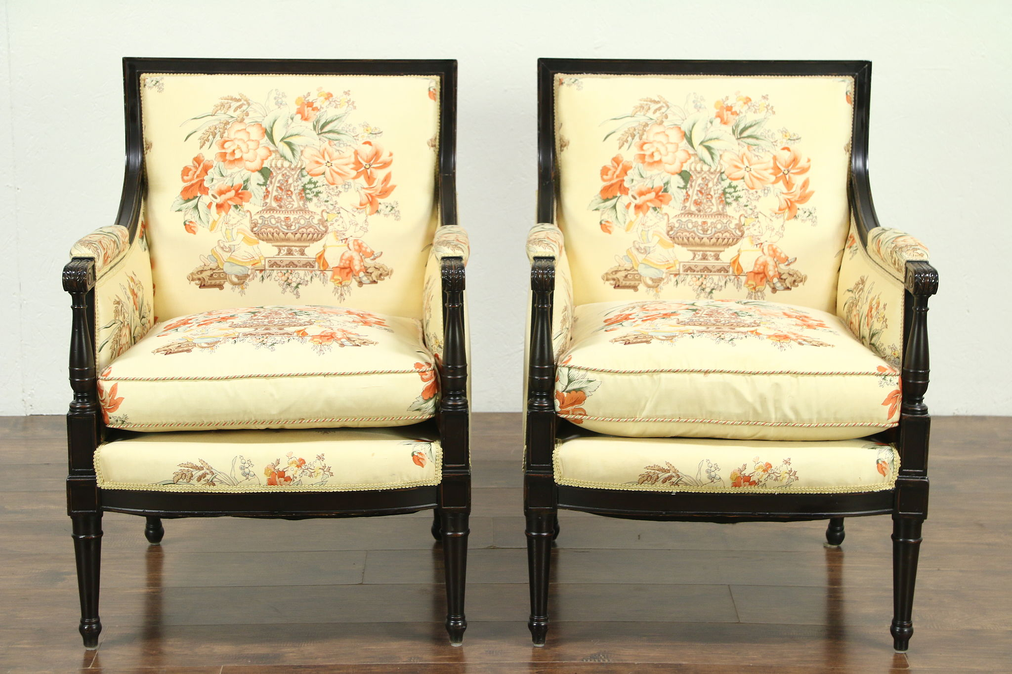 Pair Of Traditional Vintage Chairs, Custom Chinese Silk Upholstery